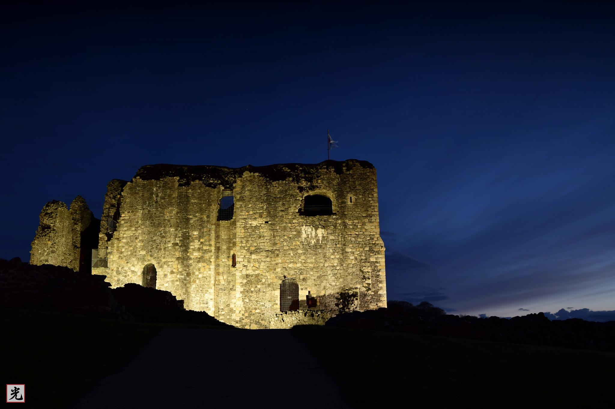 Dundonald Castle at night. by Jonathan Cruickshank