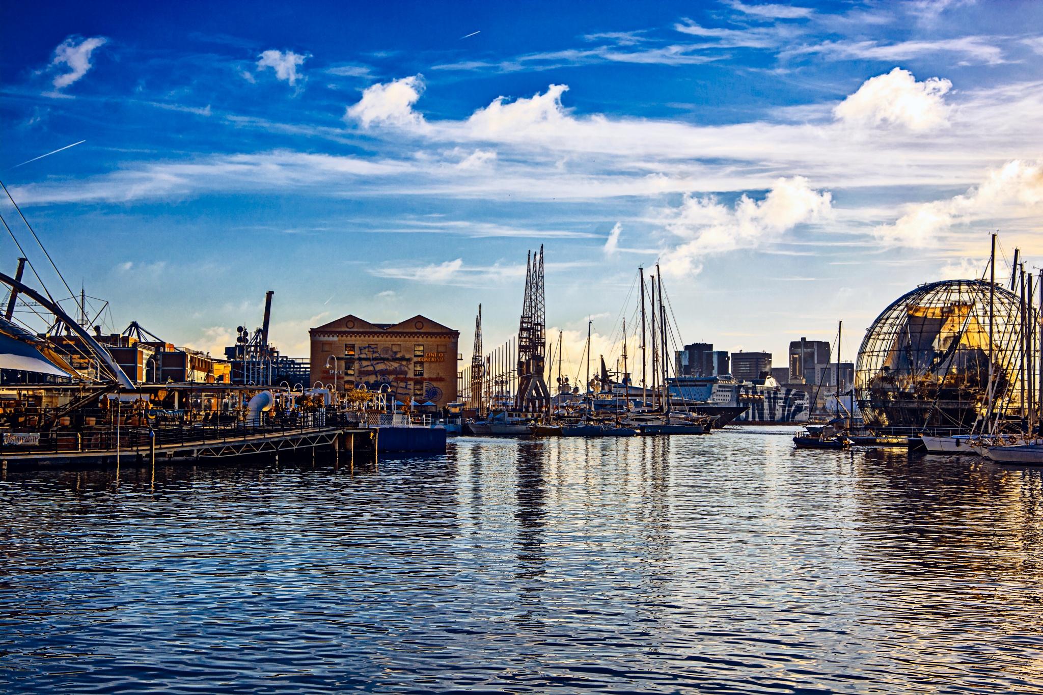 Photo in Cityscape #cityscape #sunset #genova #italy #port #sea