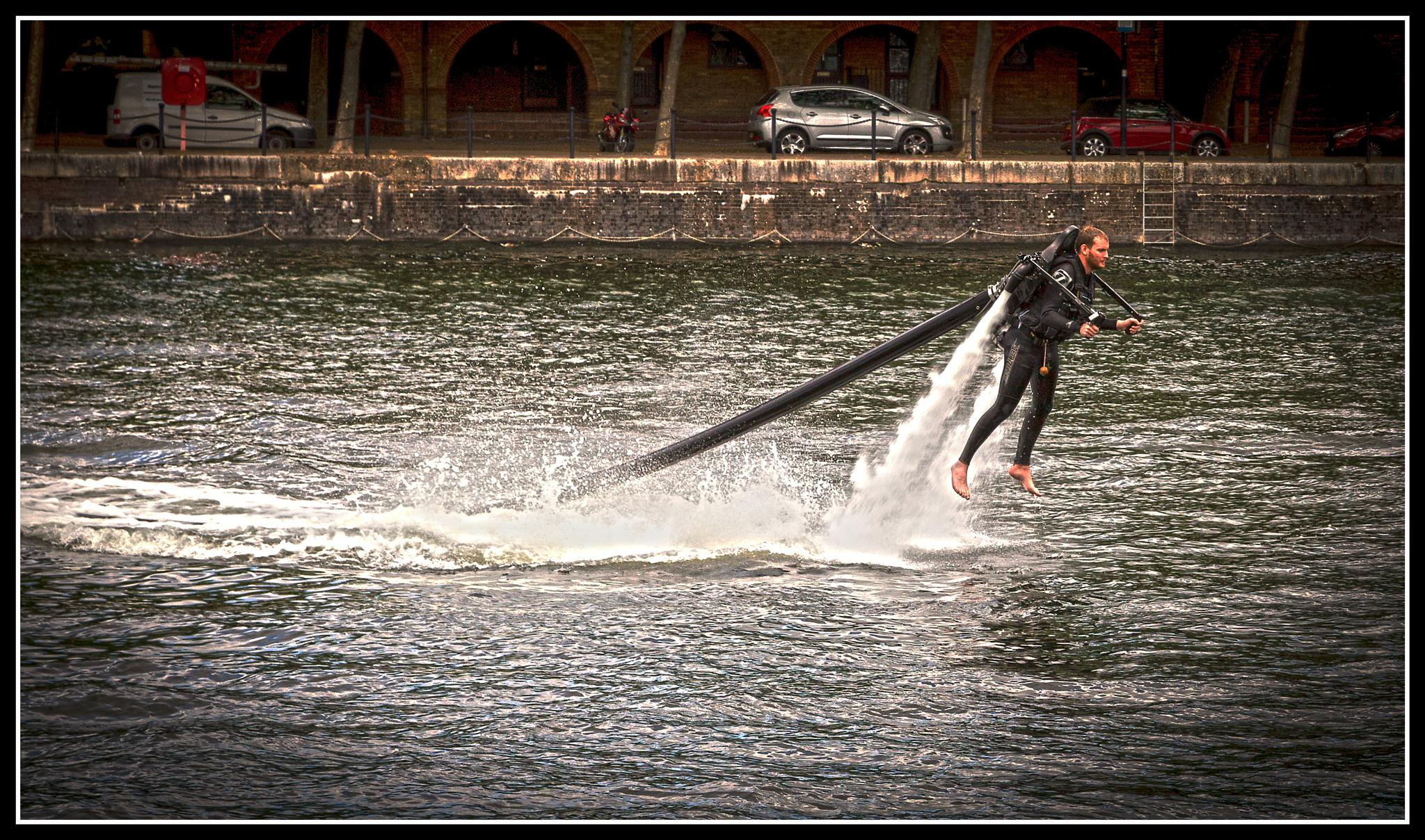 Water jet pack on Greenland Dock by wendy.nowak