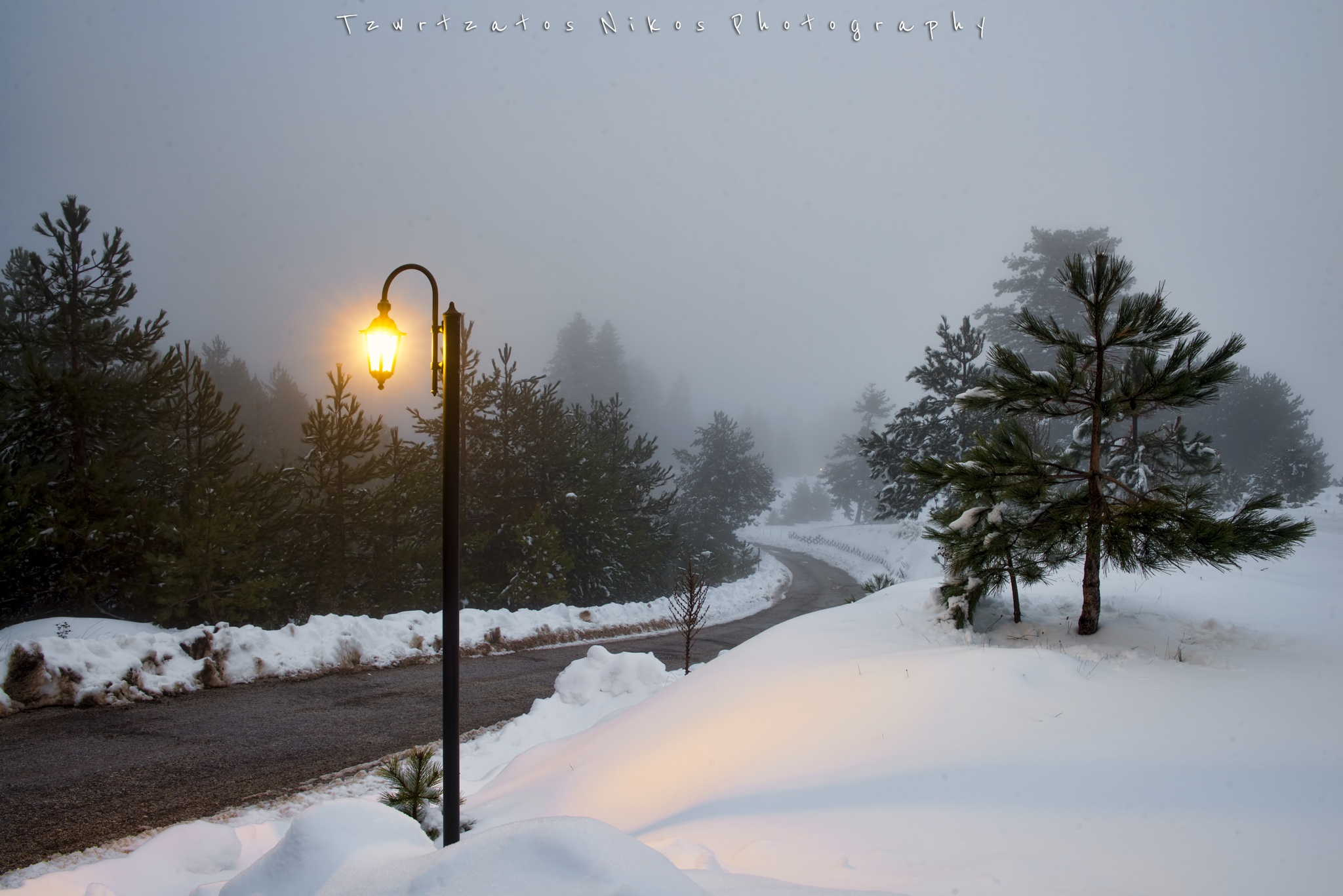 Photo in Landscape #snow #winter #light #night #road #landscape