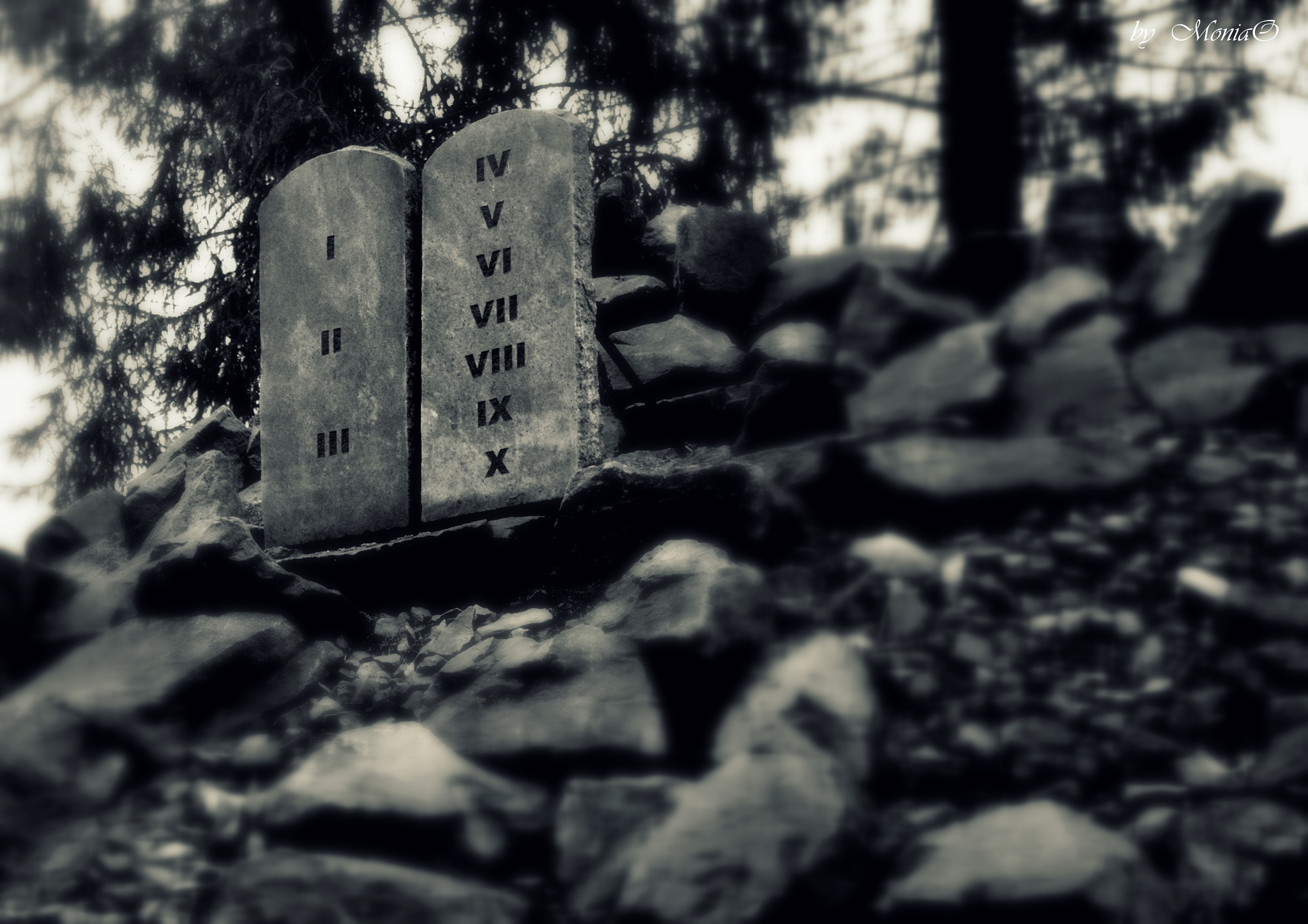 Photo in Black and White #stones #god #tablets #commandments #biblical garden #poland