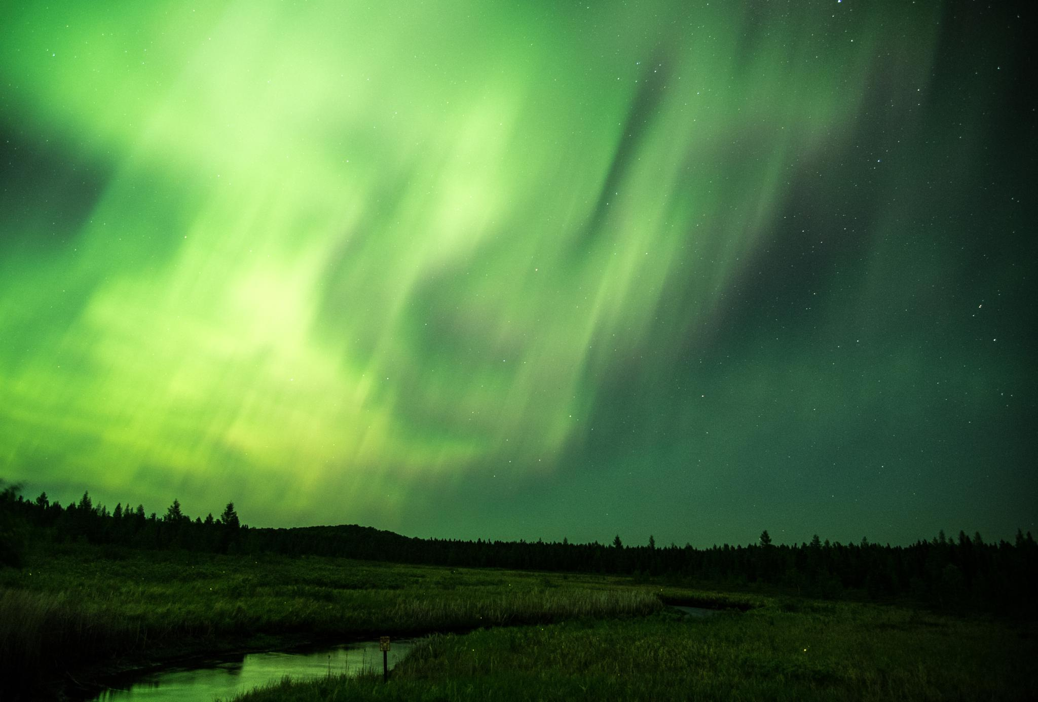 Northern Lights light up the river by john.strongitharm