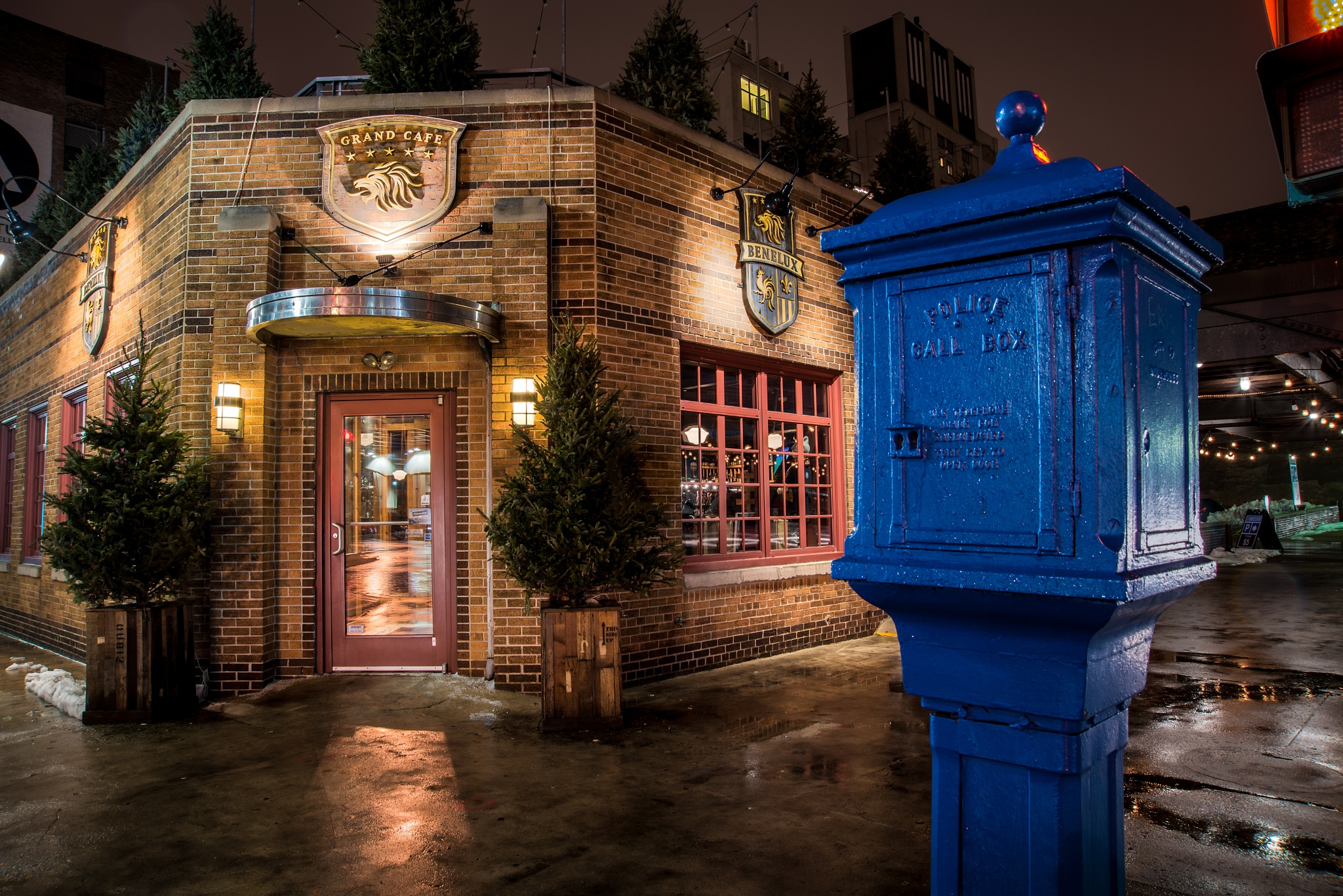 Photo in Cityscape #architecture #artistic #bar/restaurant #blue #building #buildings #city #cityscape #color #door #doors #fog #rain #long exposure #milwaukee #misty #night #night photography #nightscape #nikon #old #outdoor #red #signs #street #texture #textured #urban #usa #weather #winter #wisconsin