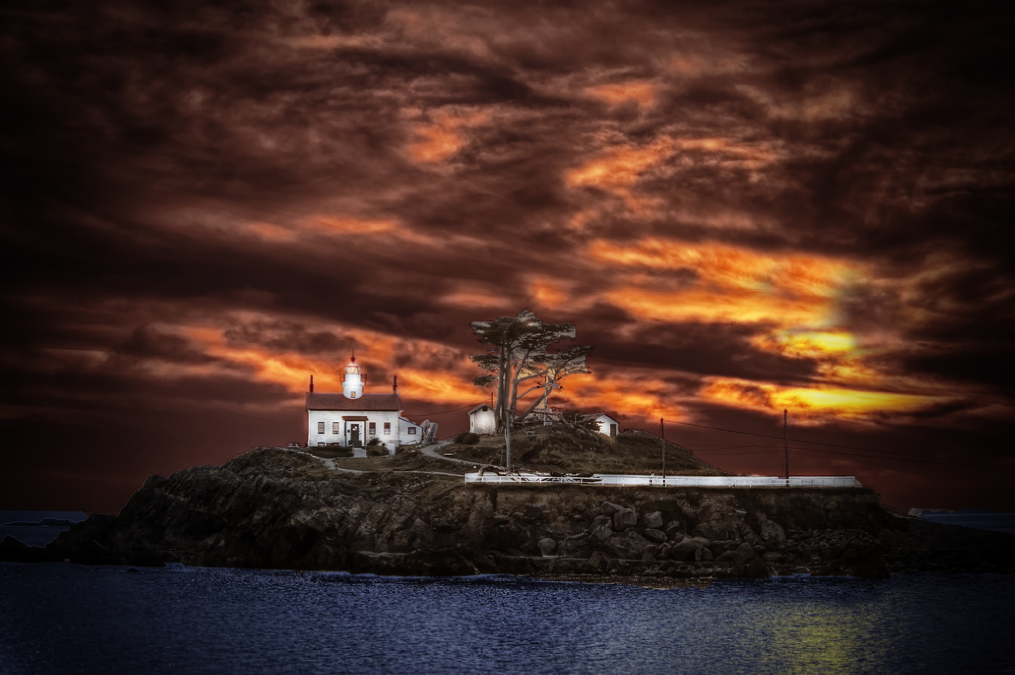 Battery Point Light at sunset by Pazzophoto