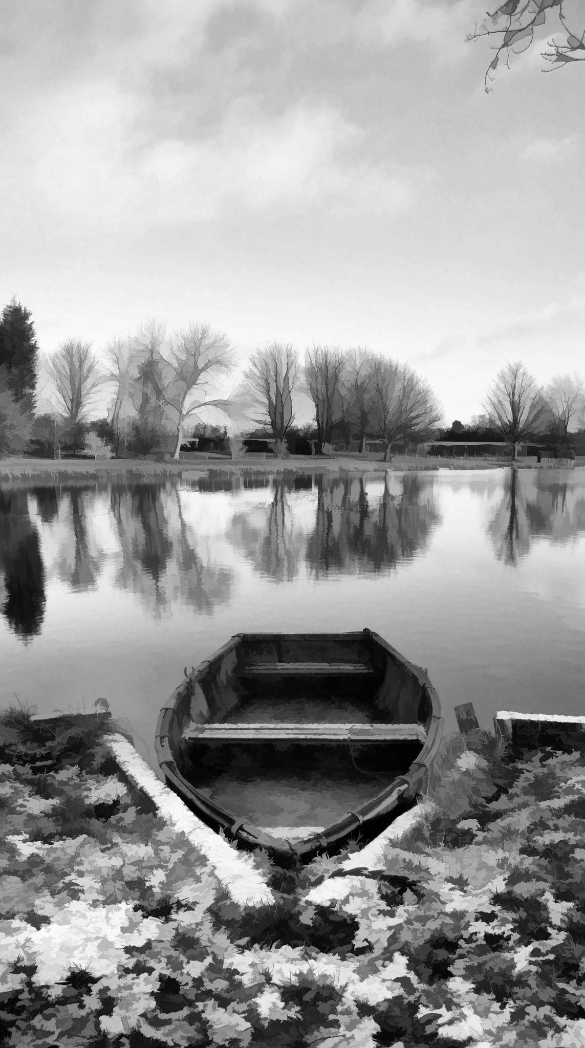 Moored Boat (Black & White) by Anthony Tlolka