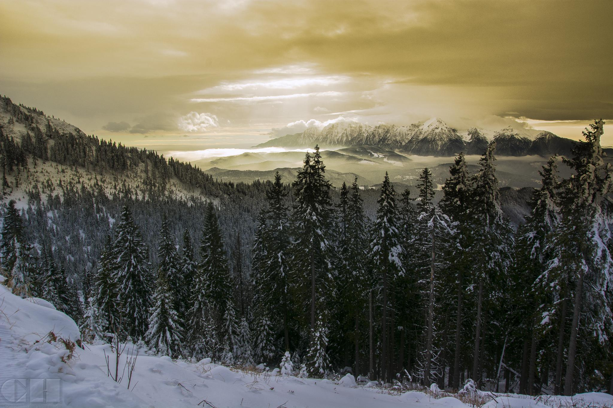 winter mountain sunset by constantin.hurghea