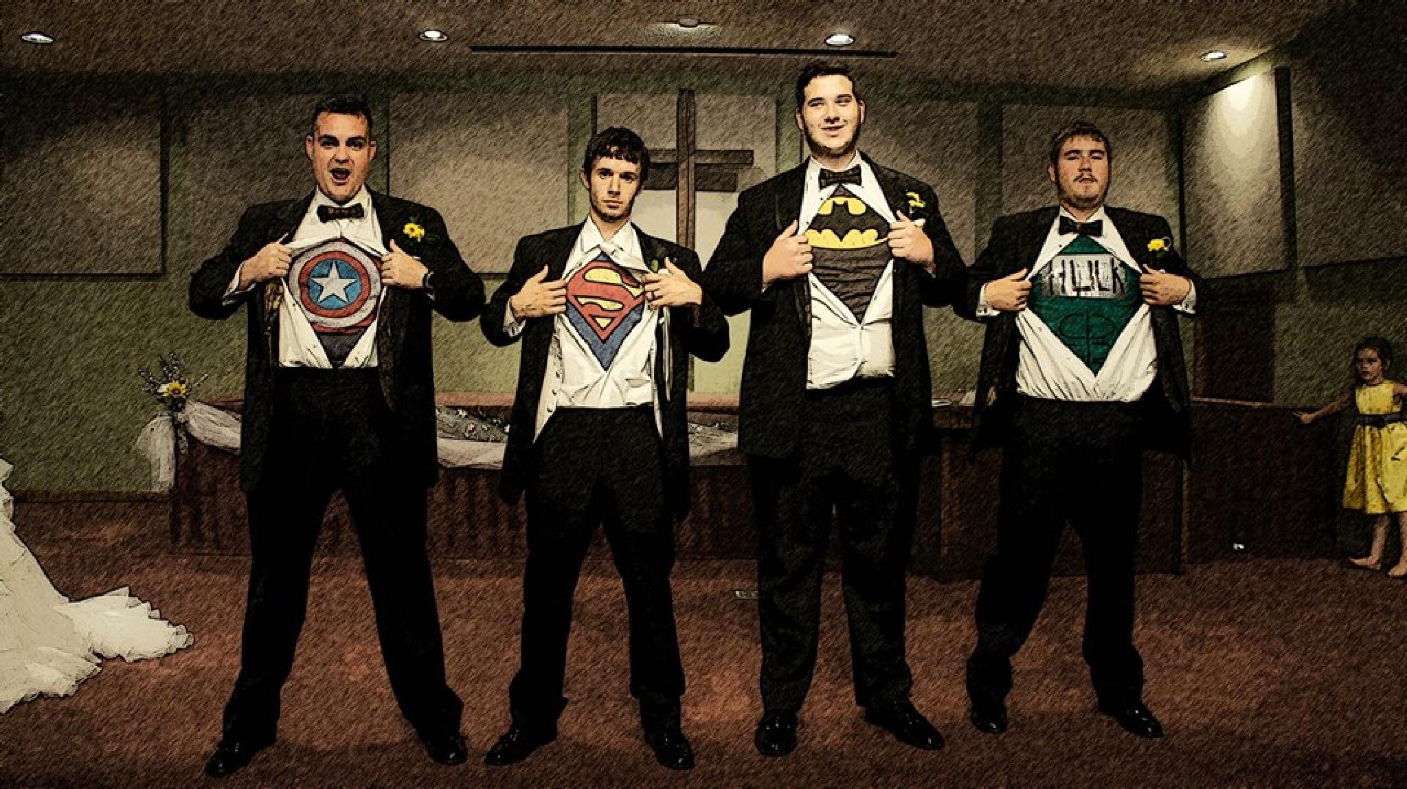 Super Heroic Groom and Groomsmen by thomas.holbrook.33