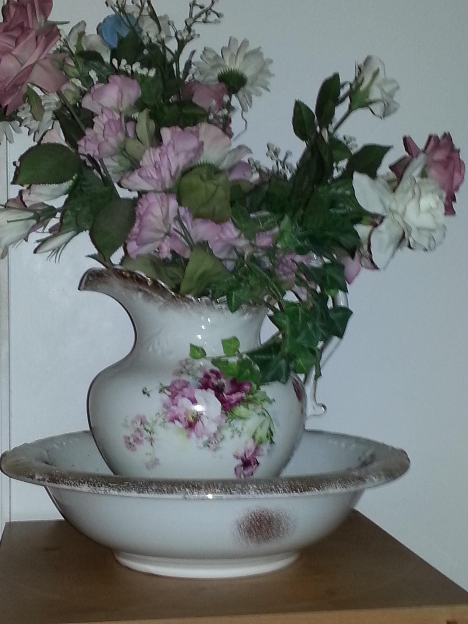 antique wash basin and pitcher by pamela.kanarr