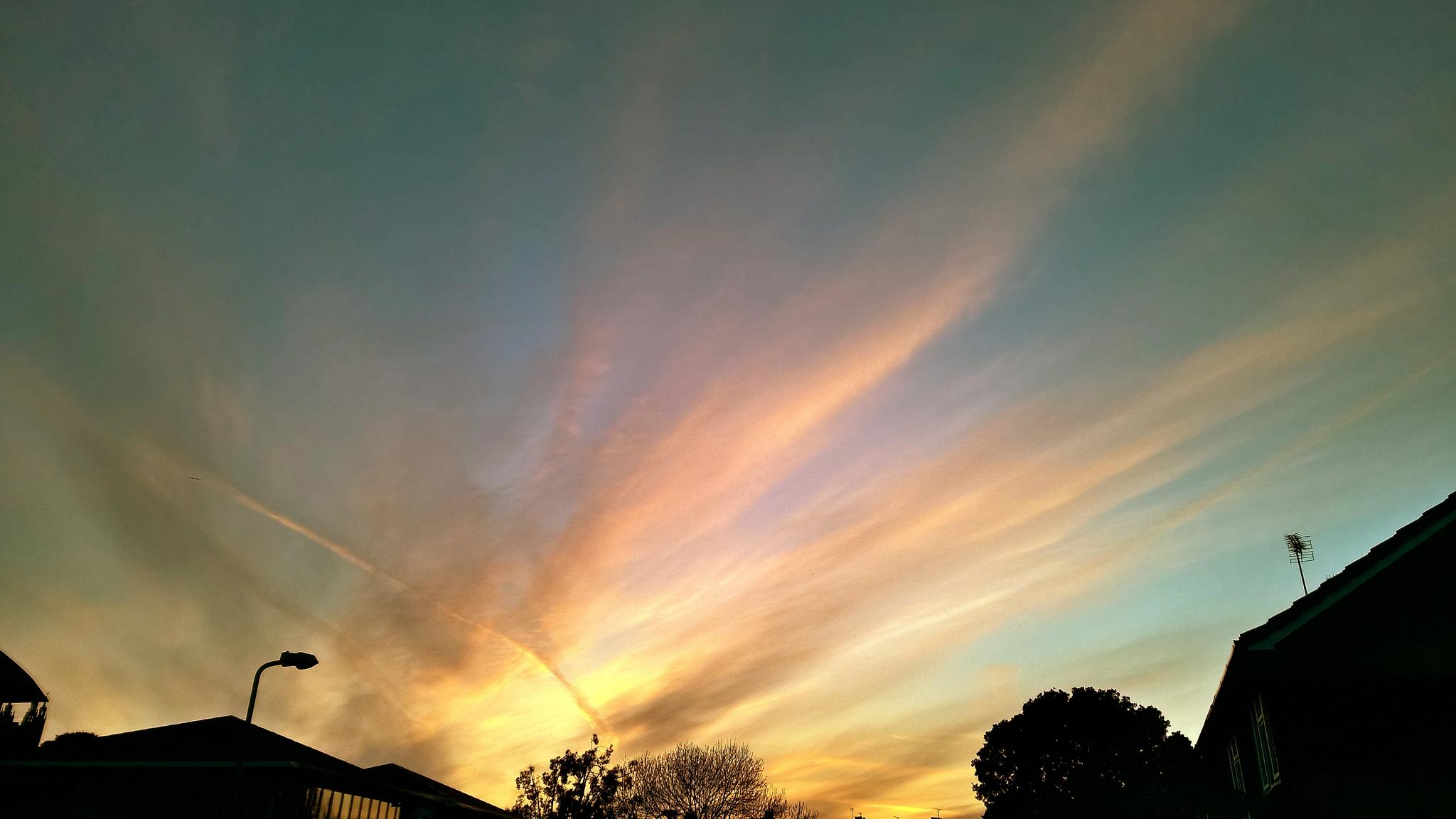 Photo in Nature #sky #skyline #skyscape #clouds #wispy #nature #colourful #spring #dusk #sunset