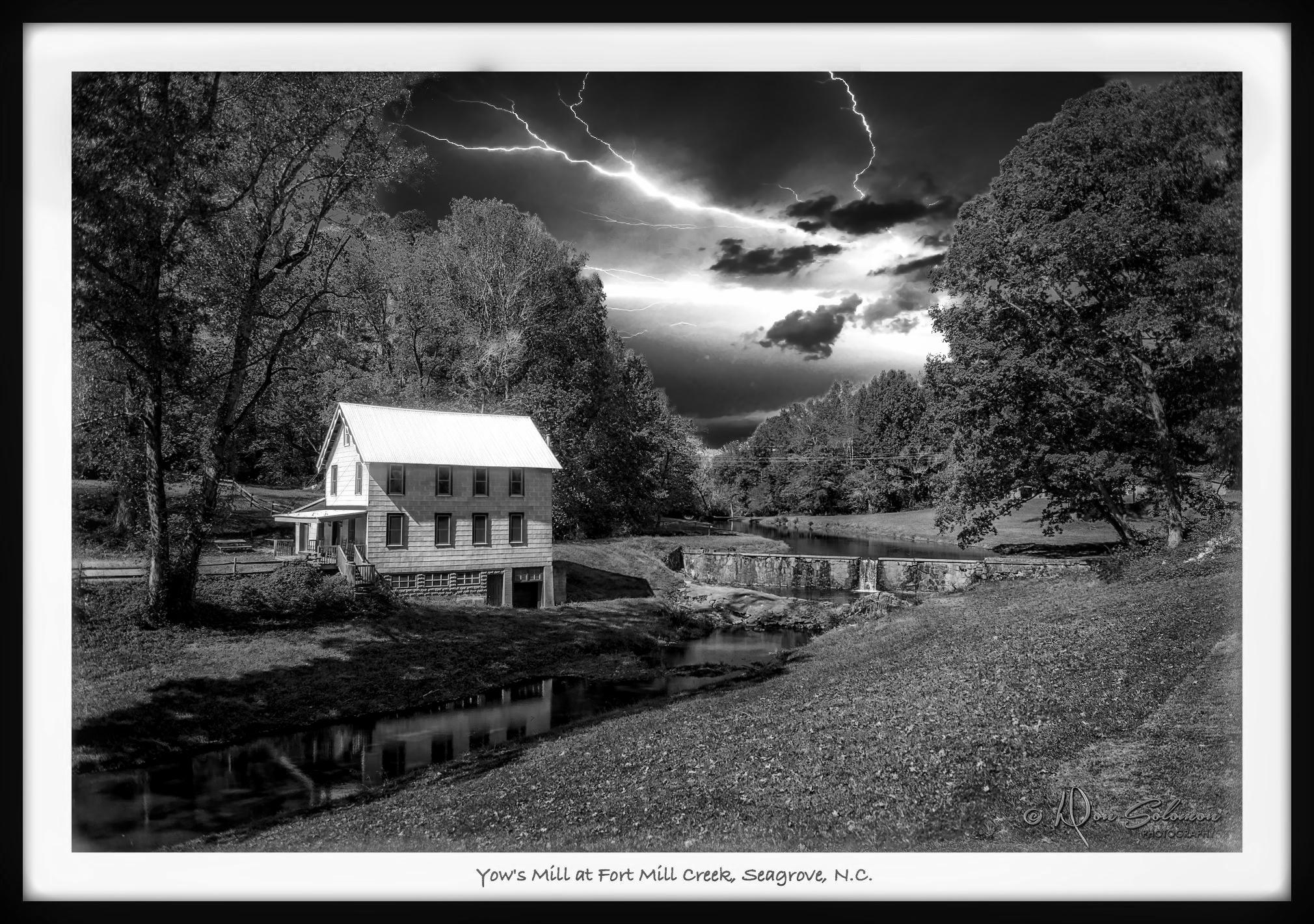Photo in Landscape #landscape #storm #lightning #grist mill #b&w #north carolina #rural