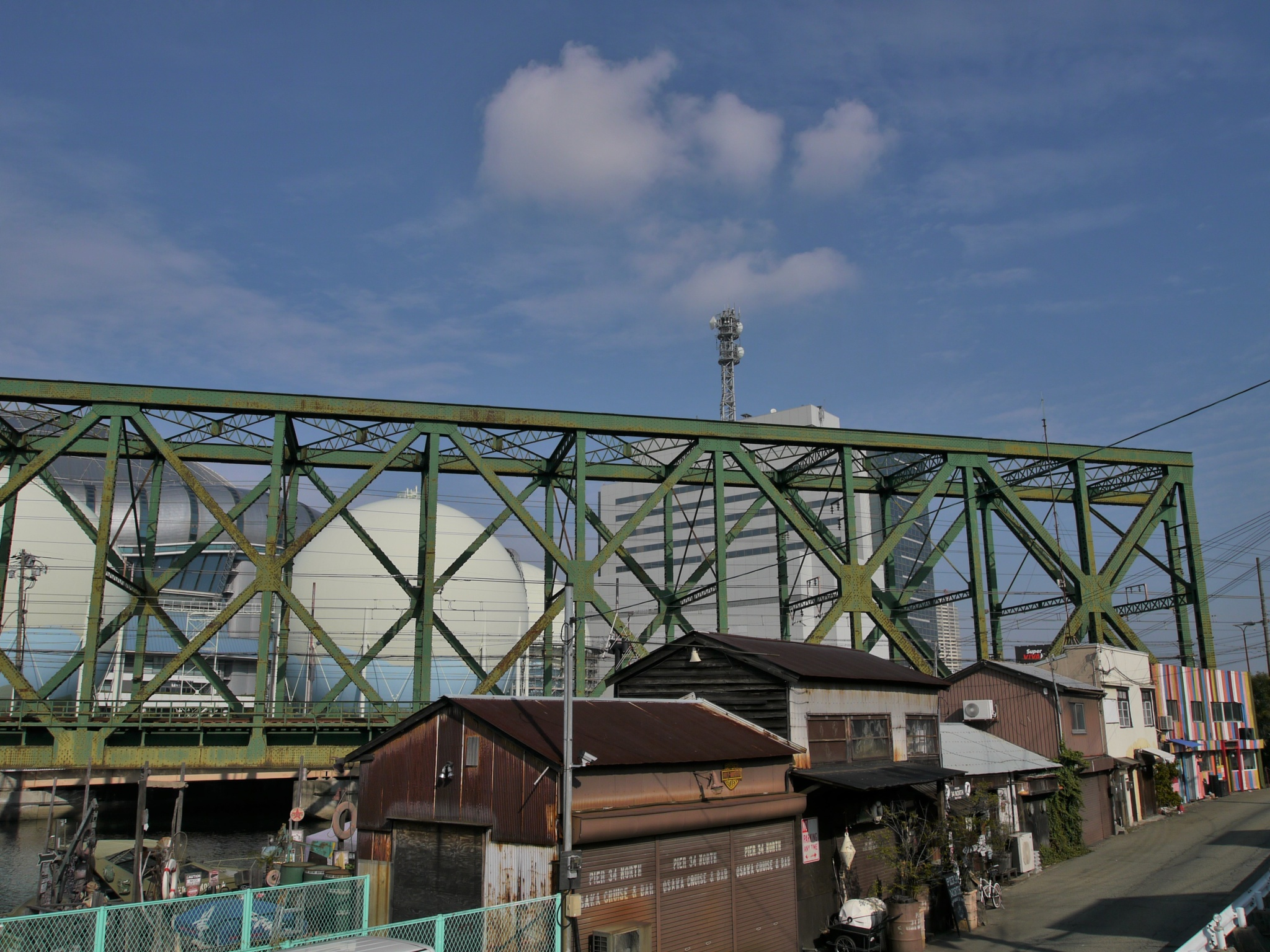 Iron bridge and the gas tank and the UFO by SANRI