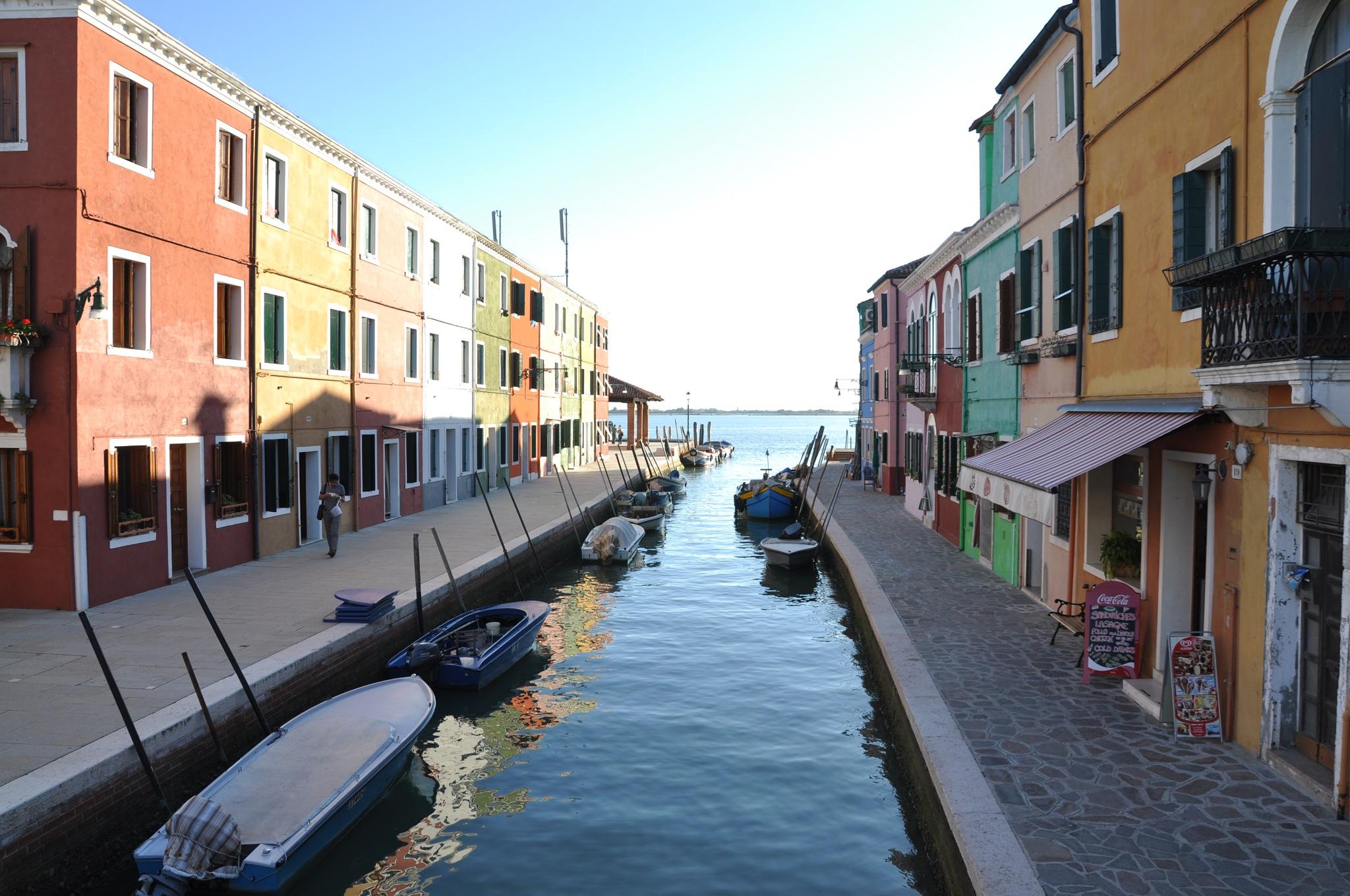 Burano Island  canal ~  view of  Venetian Lagoon ~  September  2011   Venice italy by domenic.silvi