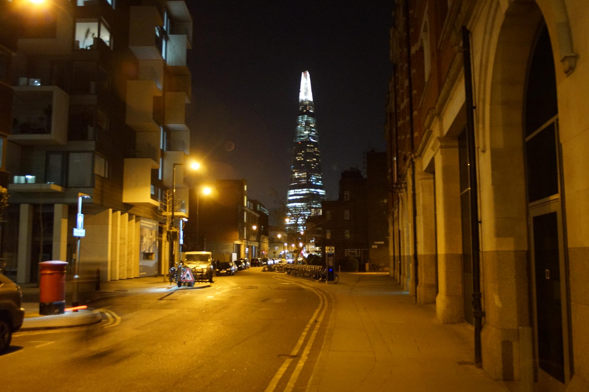 A street look at The Shard by night by erol.antz