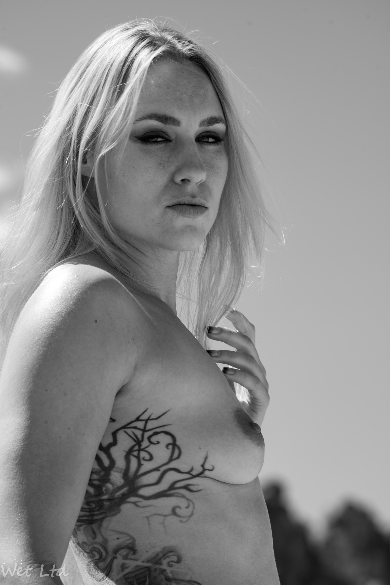 Photo in Rural #breast #small breast #nipple #erect #hard #ink #inked #inked model #nude #topless #jolene #jolene hexx #blonde #blonde hair