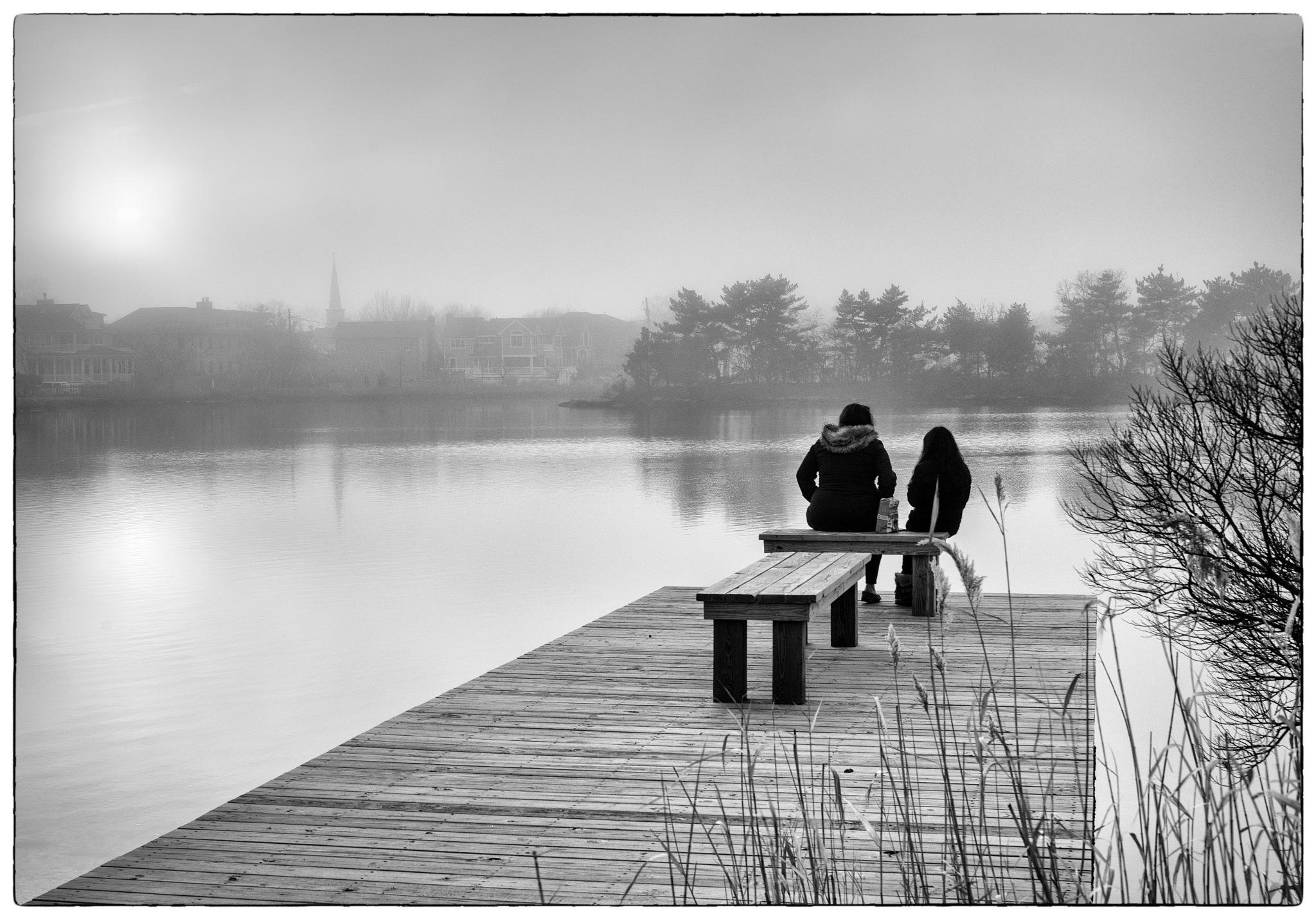 Girls On Dock by Edmund Dworakowski