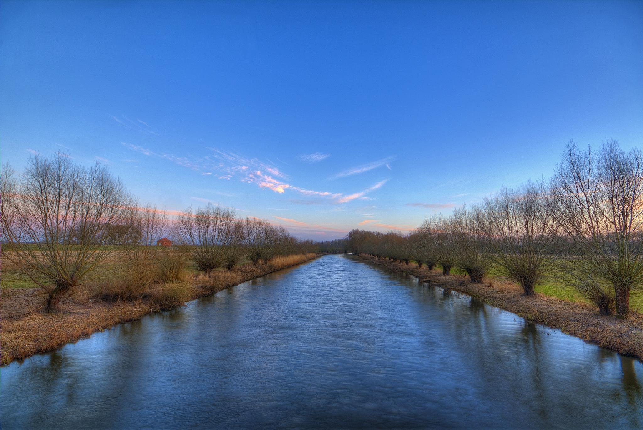 Photo in Landscape #landscape #hdr #waterscape #river #jeetzel #water #blue sky #reflection #willows #wetland #seerau #germany #2015 #canon