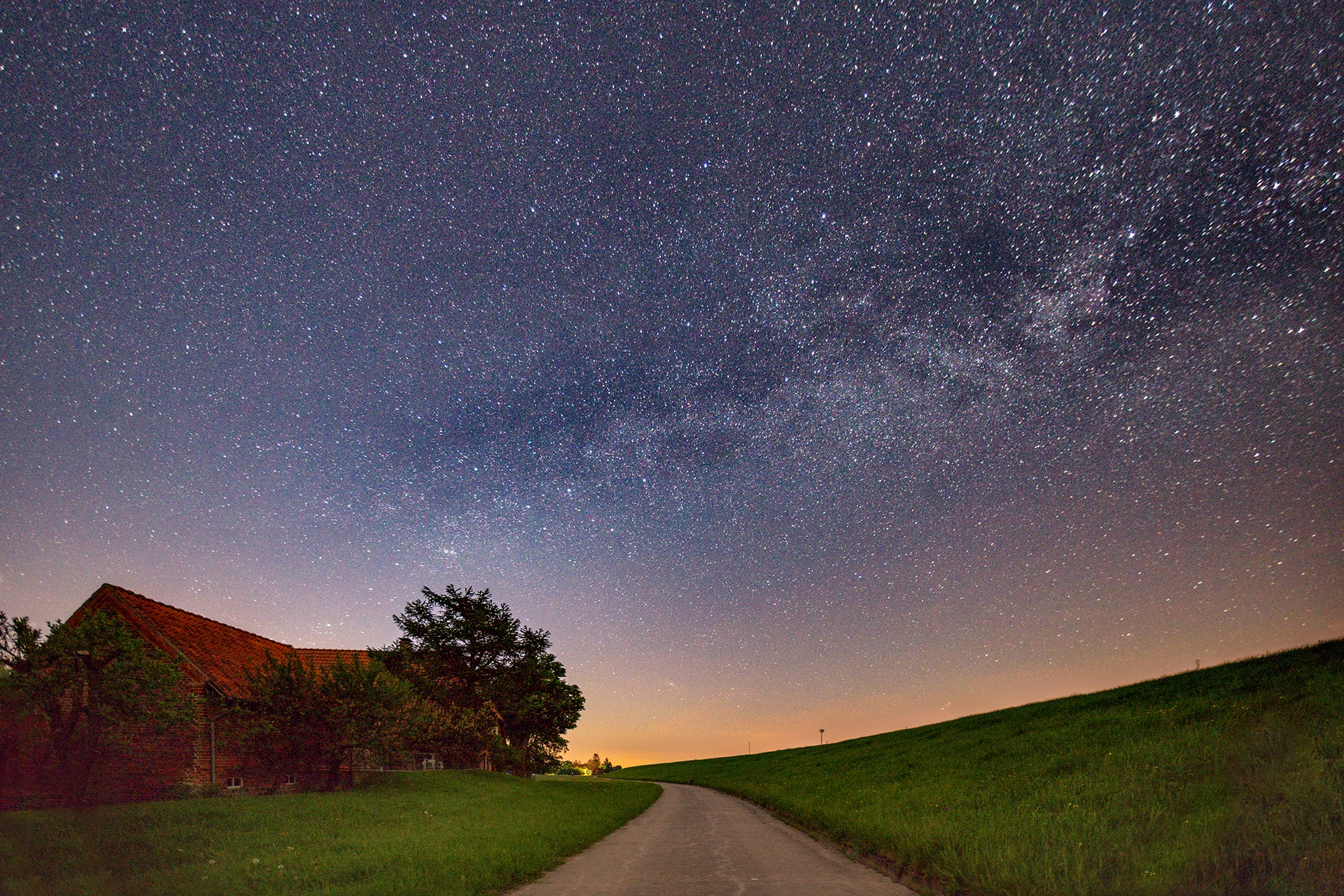 Starry sky over the Elbe Bike Path by Maik Richter Photography