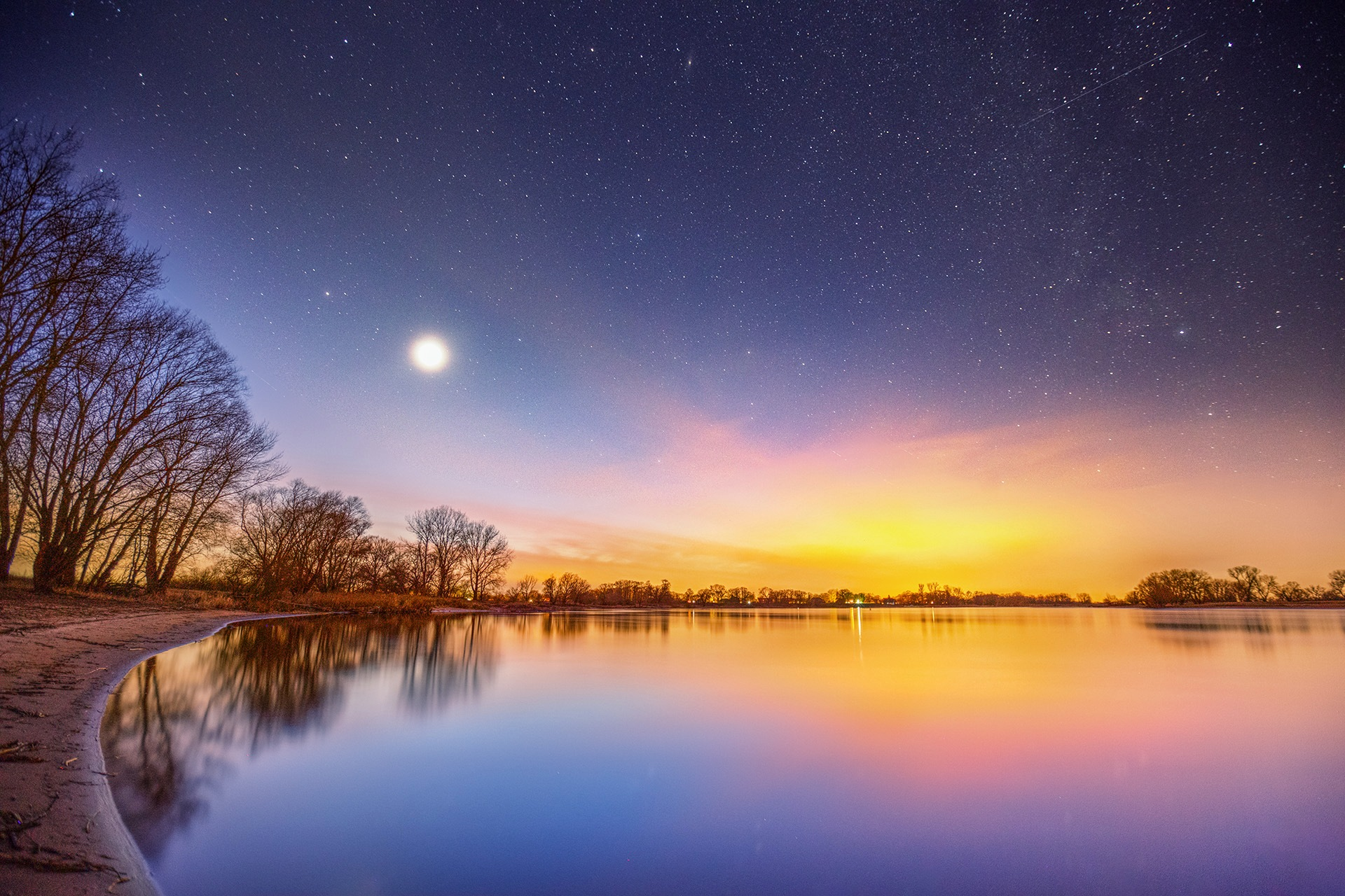 Starry sky over the river Elbe by Maik Richter Photography