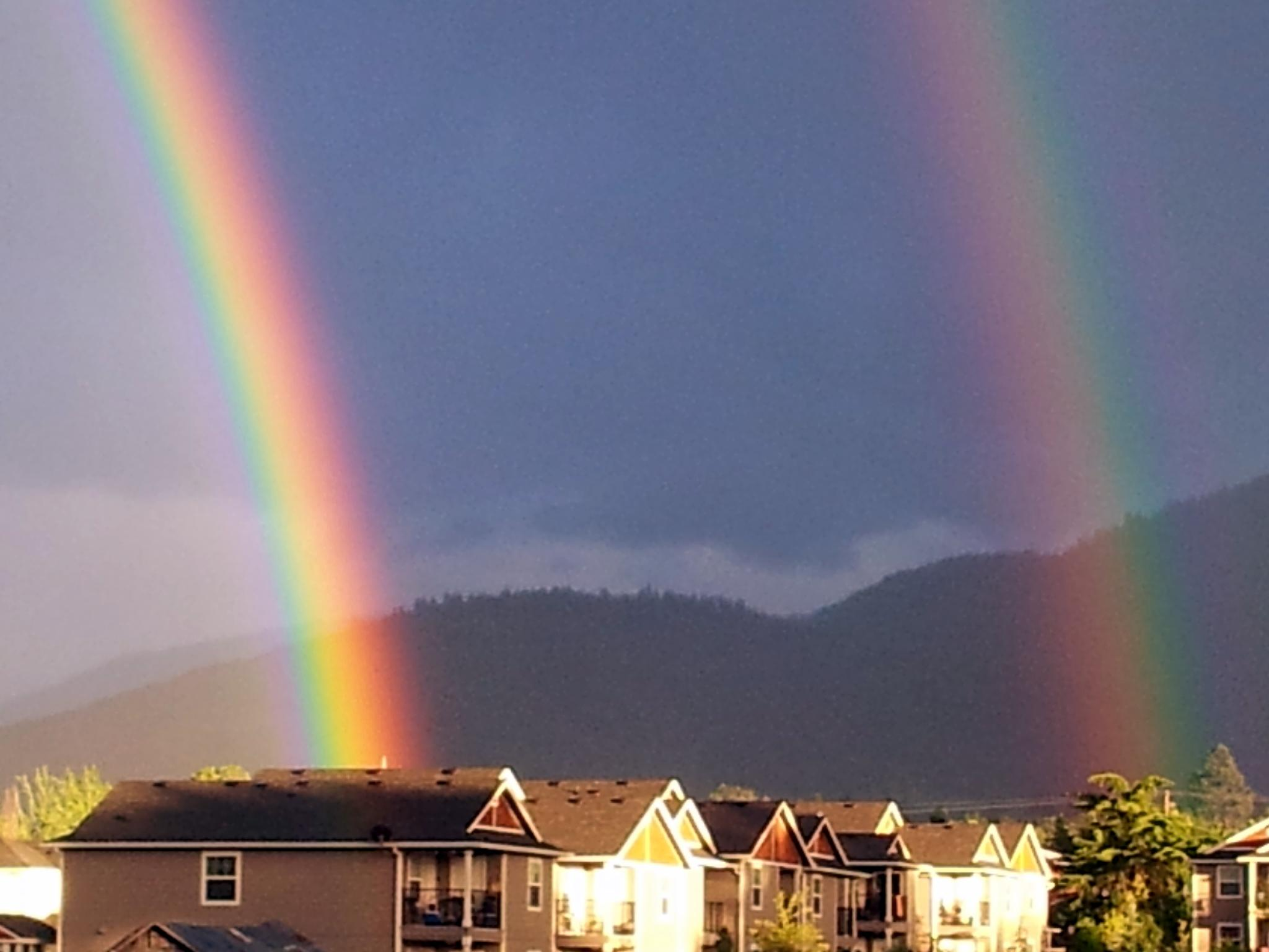 Photo in Landscape #rainbows #double #buildings #beautiful #promise #god #gift #forever #jesus #hope #faith #love #believe #vibrant #prism #colorfu; #landscape #nature #mountains