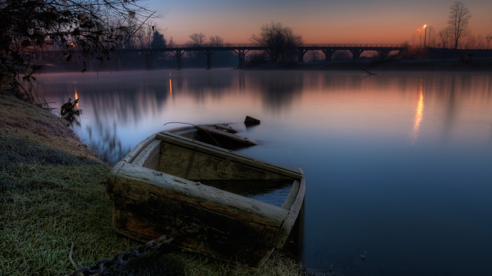 Photo in HDRI #boat #river #ice #sunrise #daybreak #korana #karlovac #hdr #croatia
