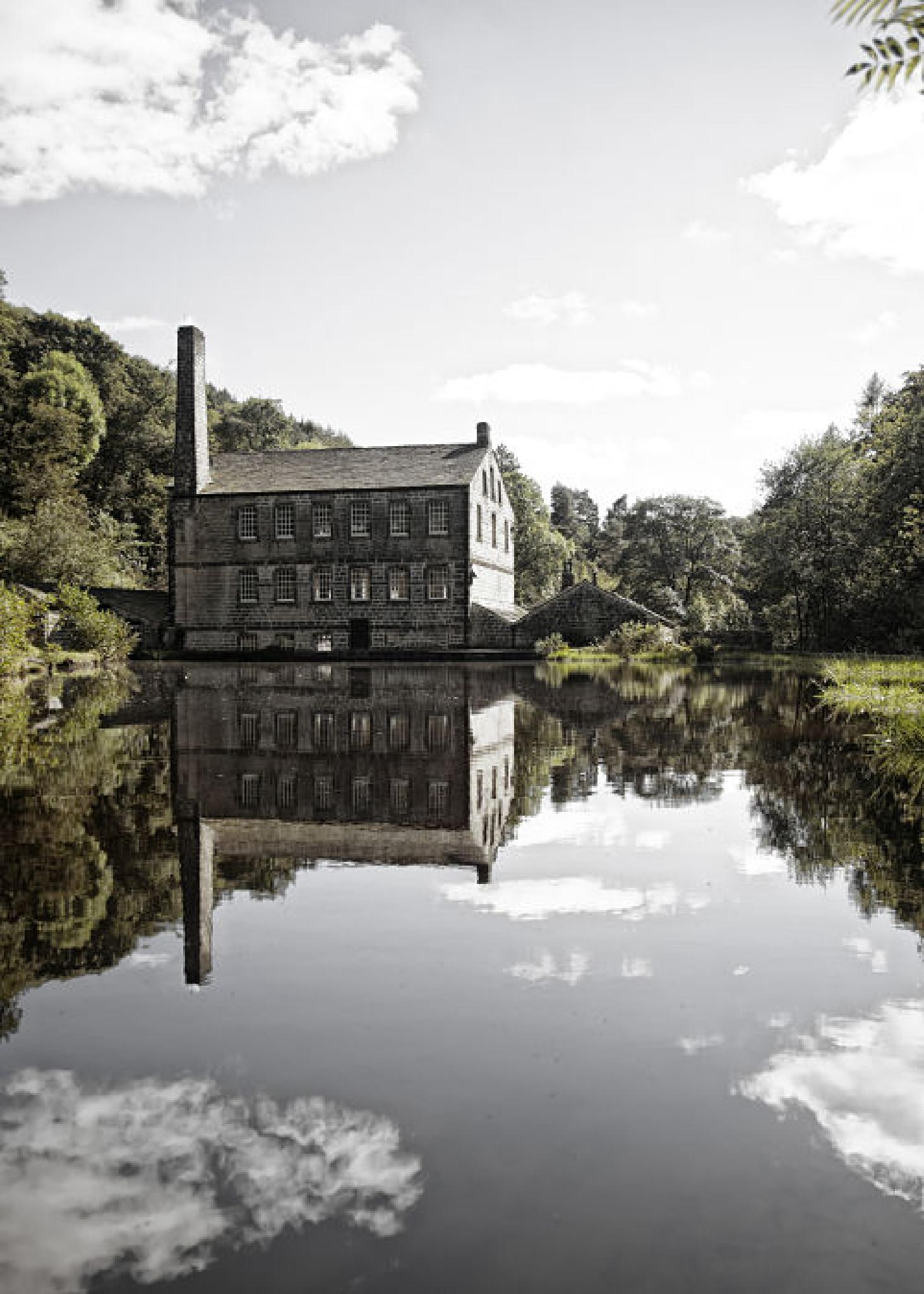 Photo in Landscape #mill #gibson #hebden bridge #water #textile #cloud #sun #sunny