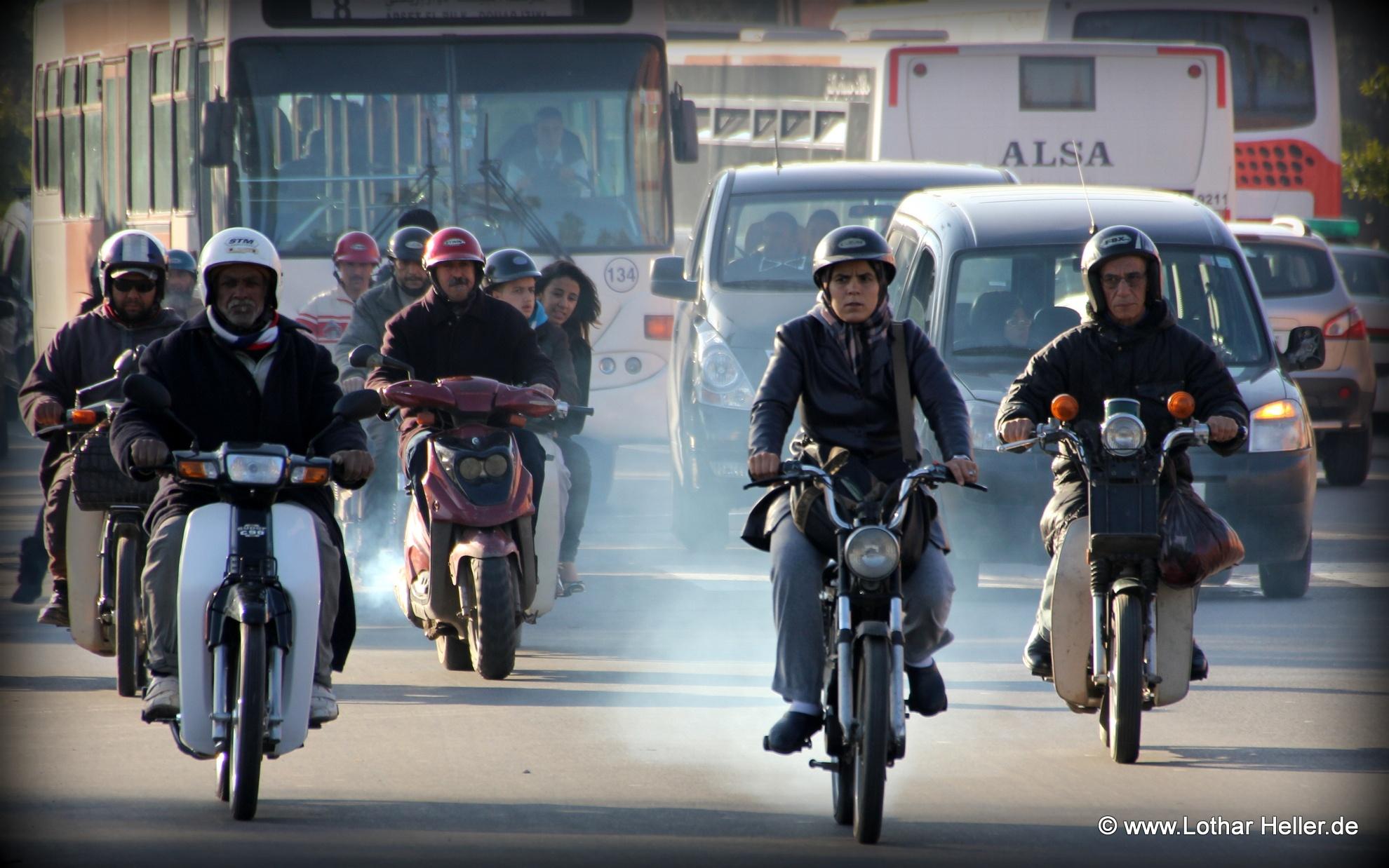 Traffic in Marrakesh by Lothar Heller