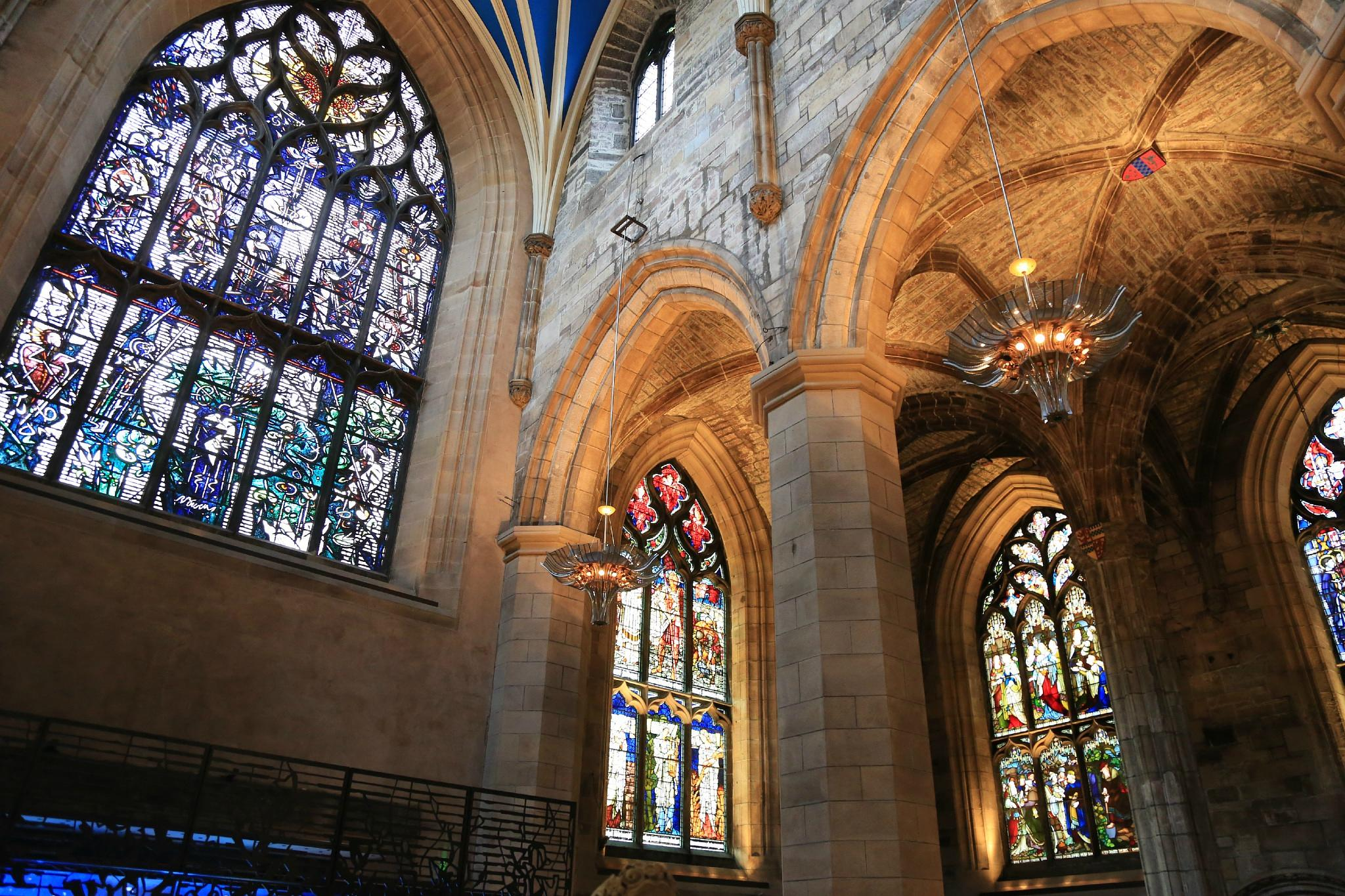 Stained glass windows in St Giles' Cathedral, Edinburgh by Cora
