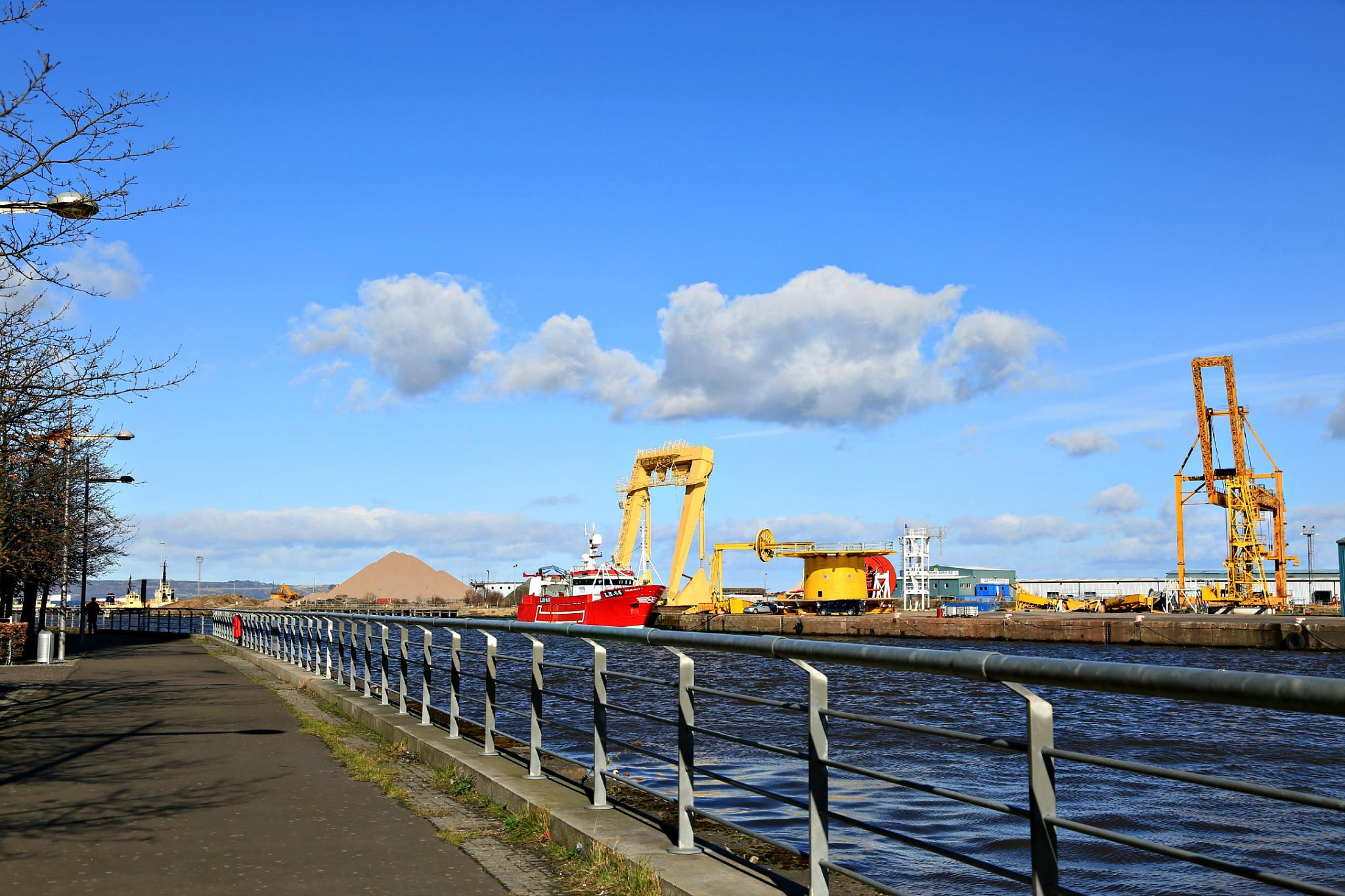 Colourful working port of Leith, Lothian by Cora