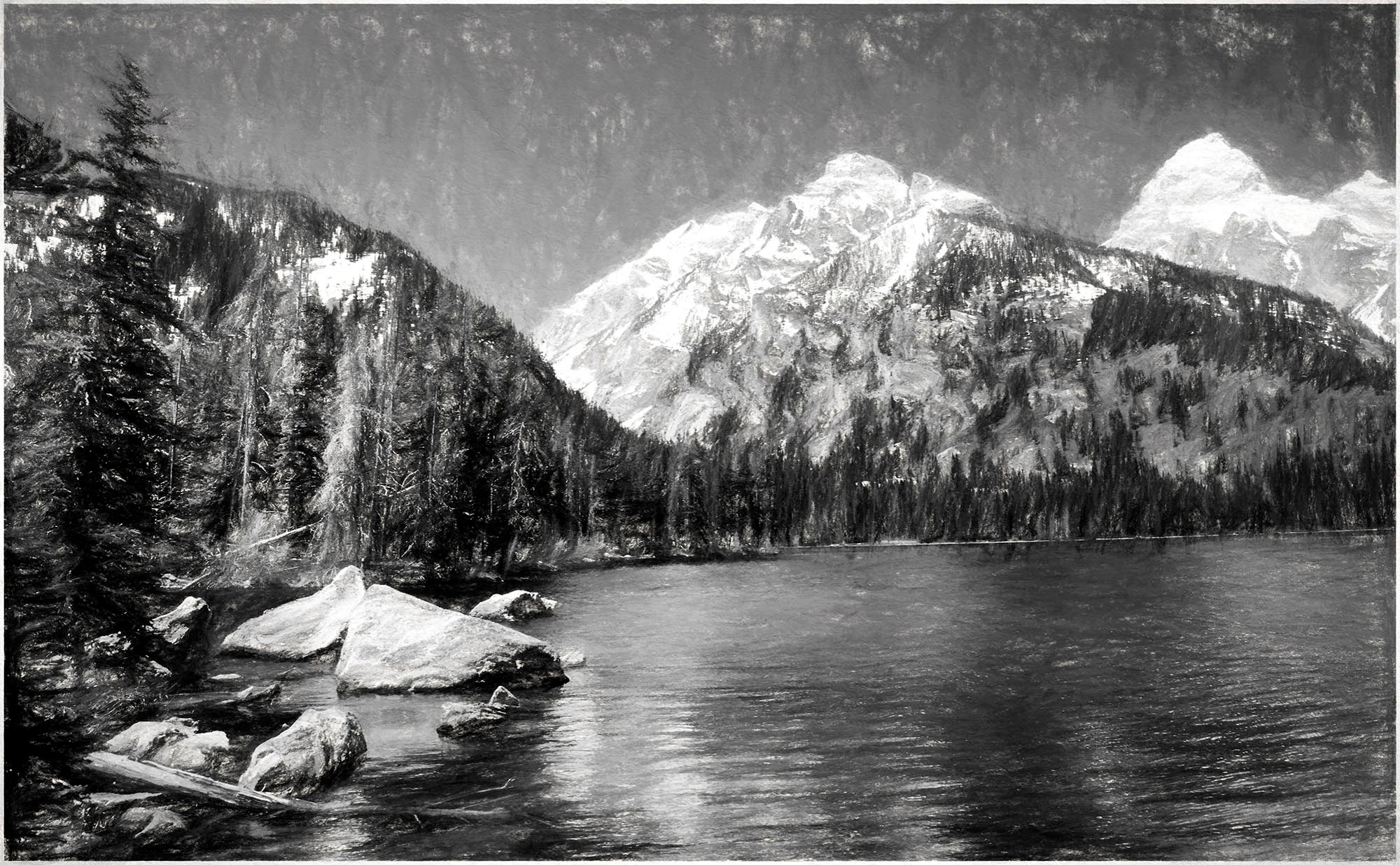 Jackson Hole - Lake in B & W by tedurquhart1