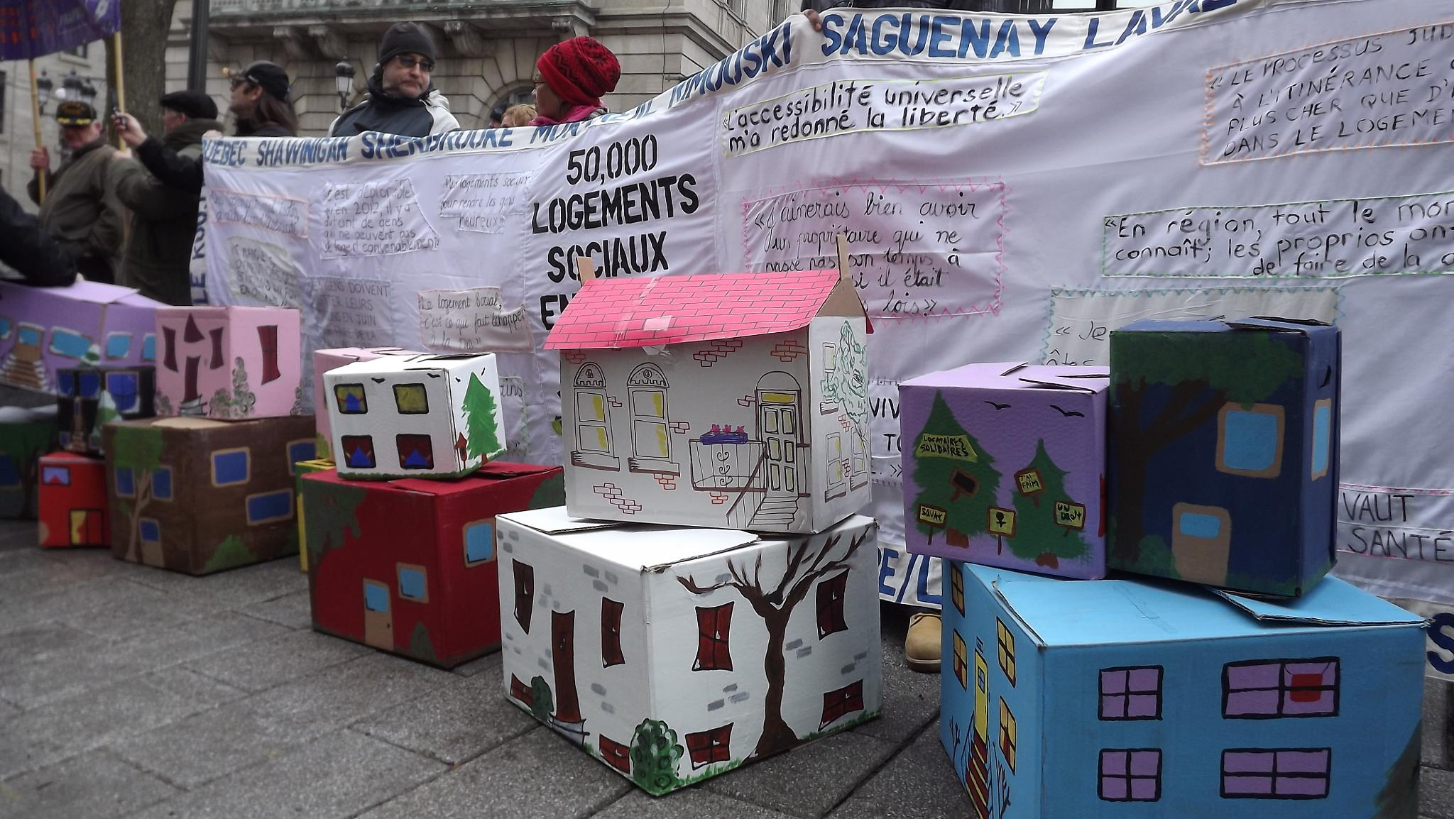 Manifestation for social housing with carton house Quebec city by real.michaud.5036