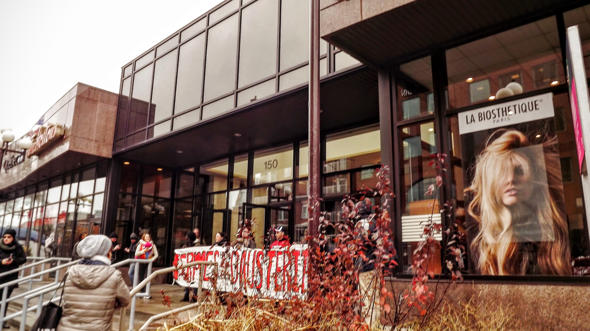 At the bank community group on strike by real.michaud.5036