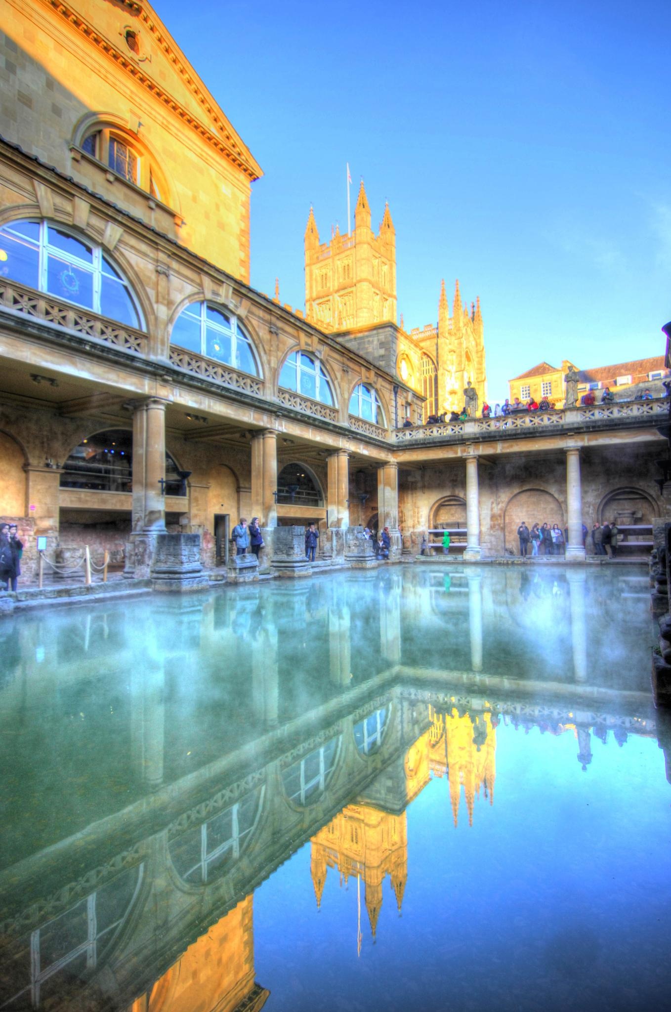 The Roman Baths at Bath and Bath Abbey in the background by Peggy Berger