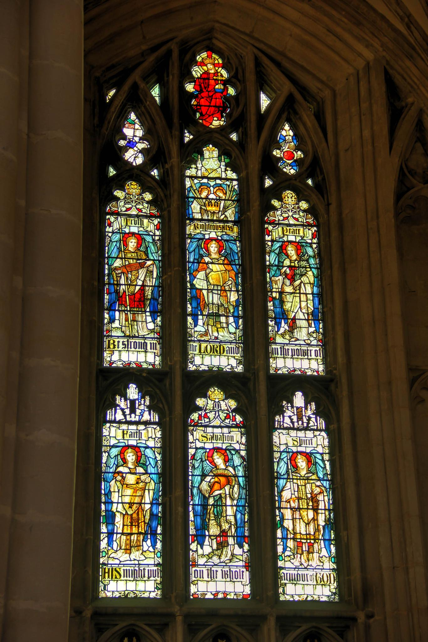 One of many stained glass windows at Winchester cathedral by Peggy Berger