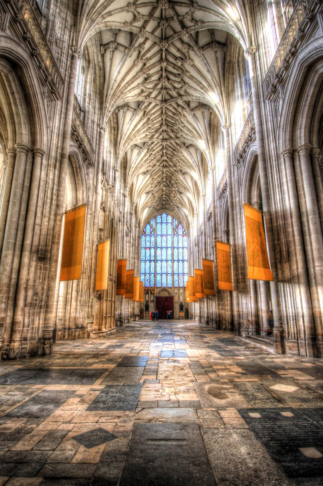 Nave at Winchester Cathedral towards West Window by Peggy Berger