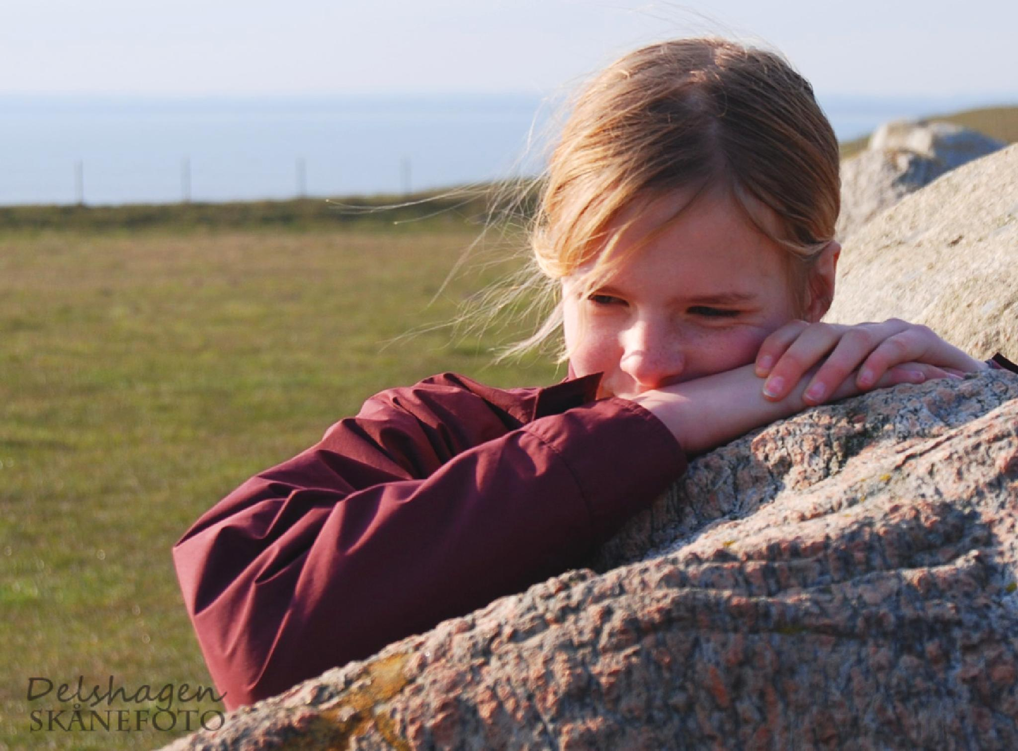 Girl by stone by Conny