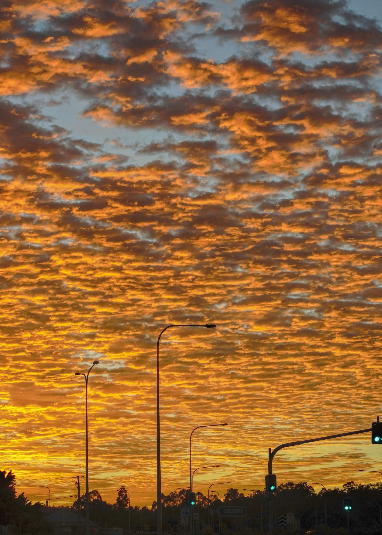 Sunrise above traffic lights. by ensbassatt