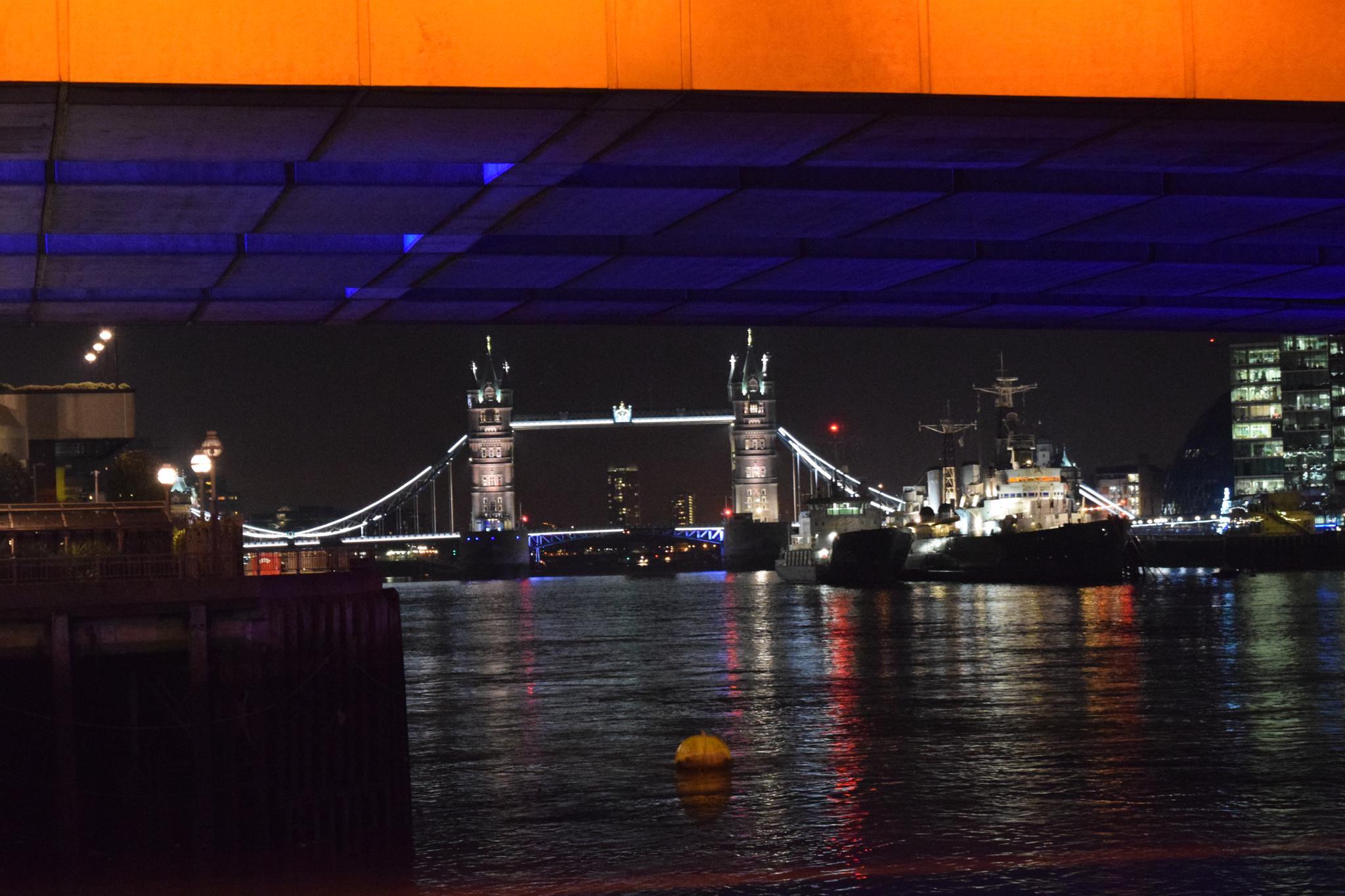Approaching Tower Bridge at night by Gwynboyo