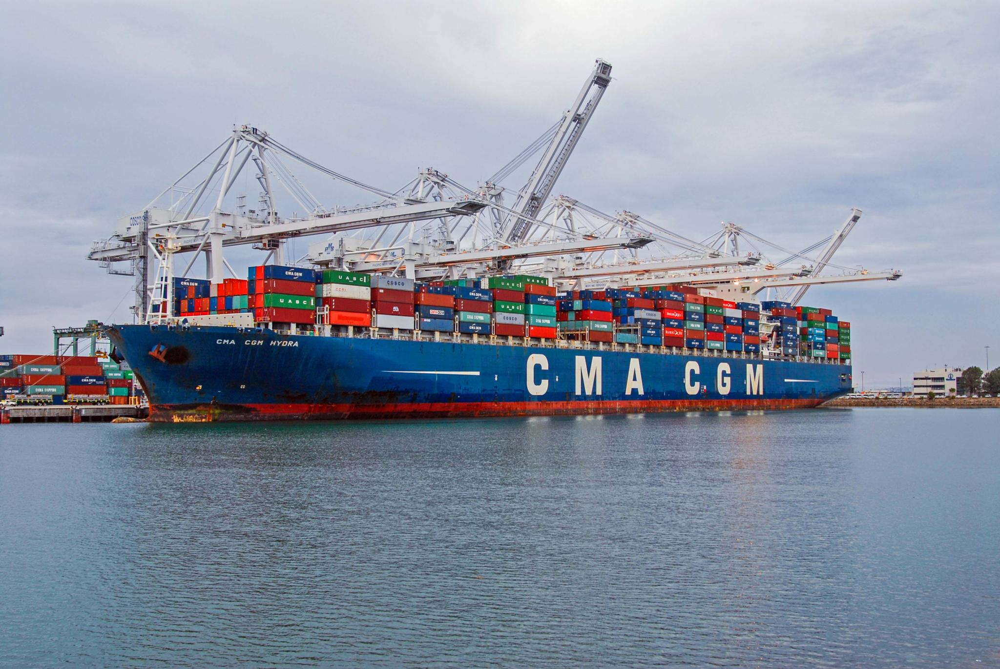 Container Ship In Los Angeles Harbor  by Avedis