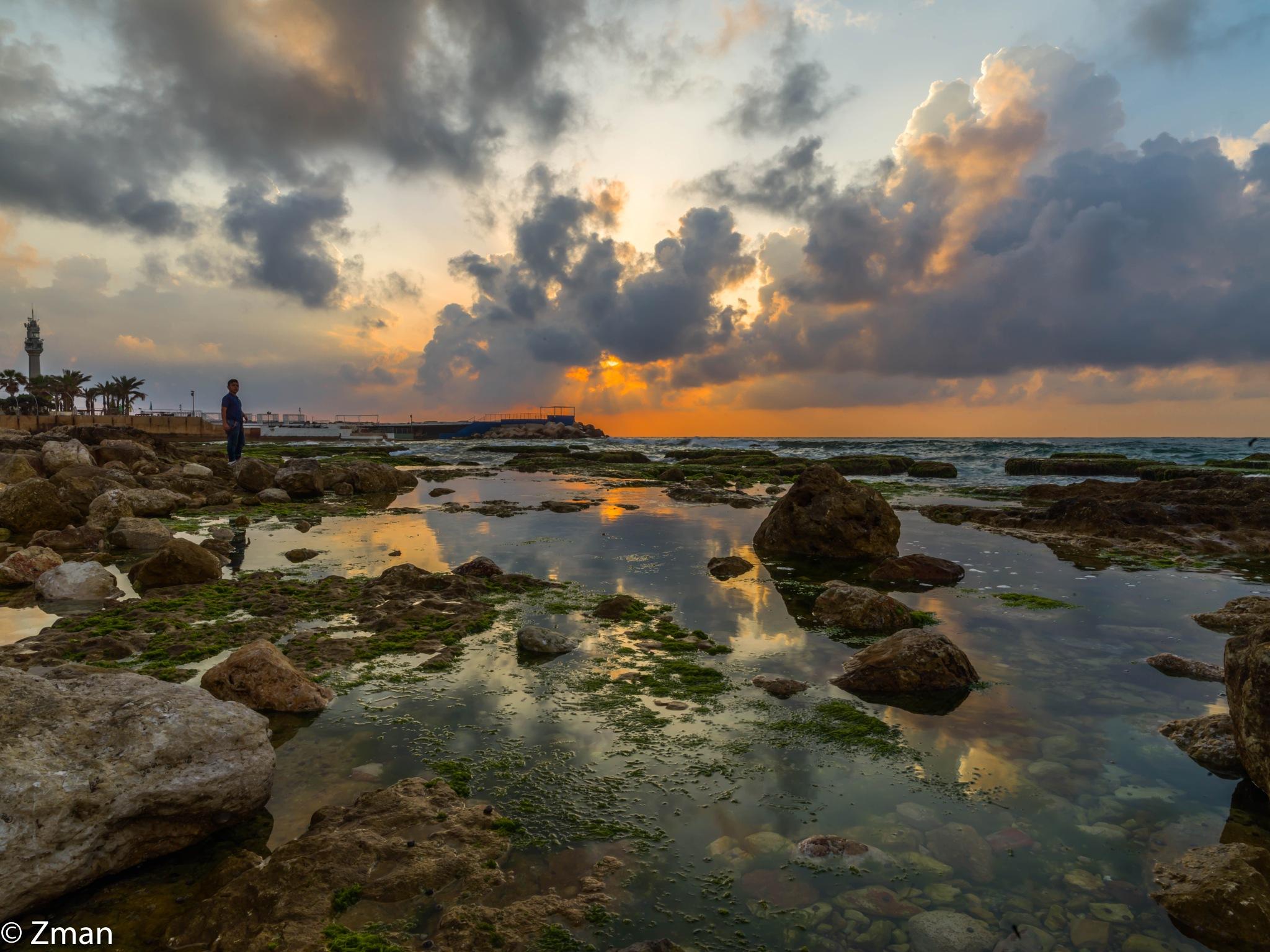 Rocks,Sea and Sunset by muhammad.nasser.963