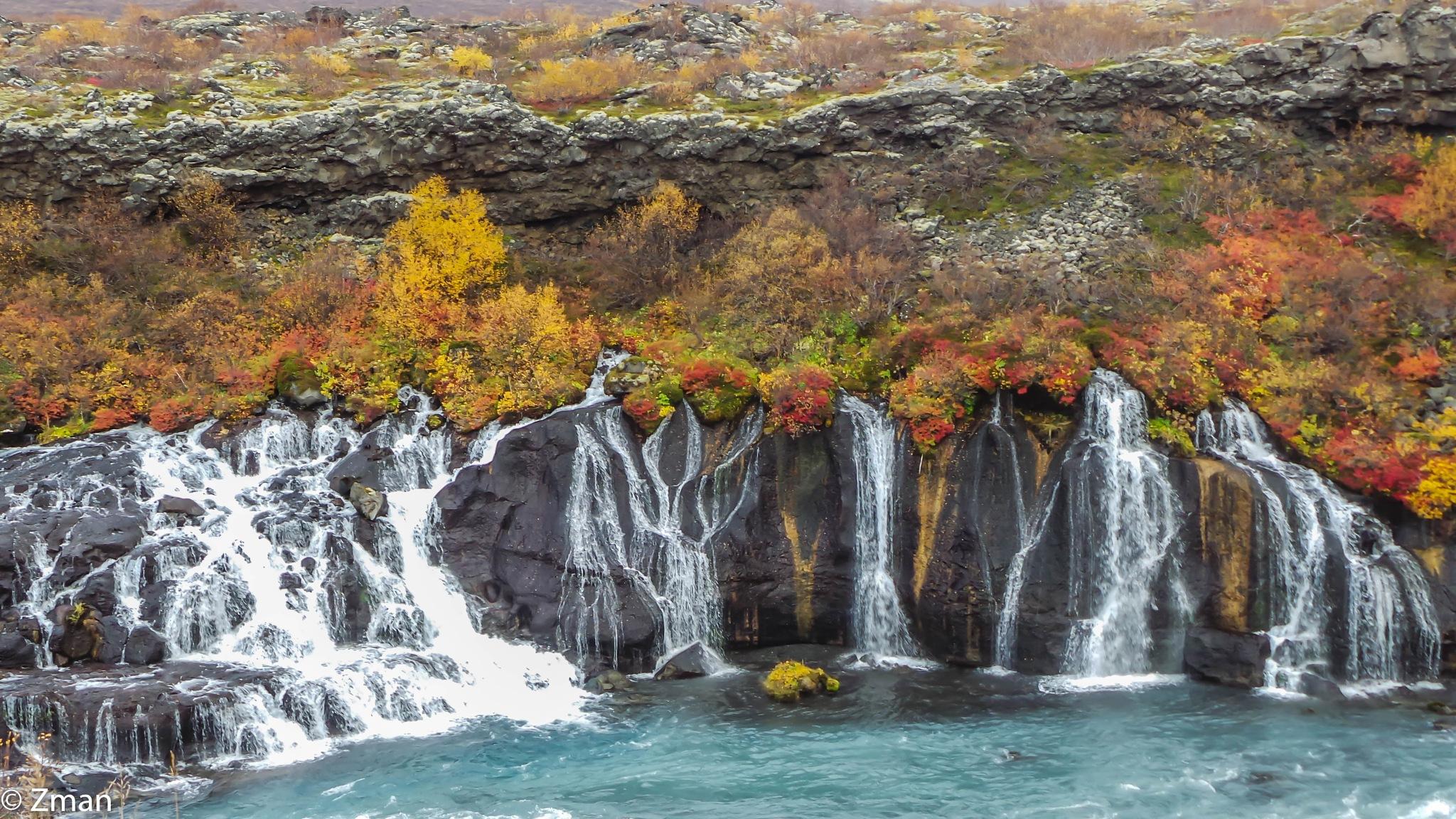 The waterfalls of Hraunfossar by muhammad.nasser.963