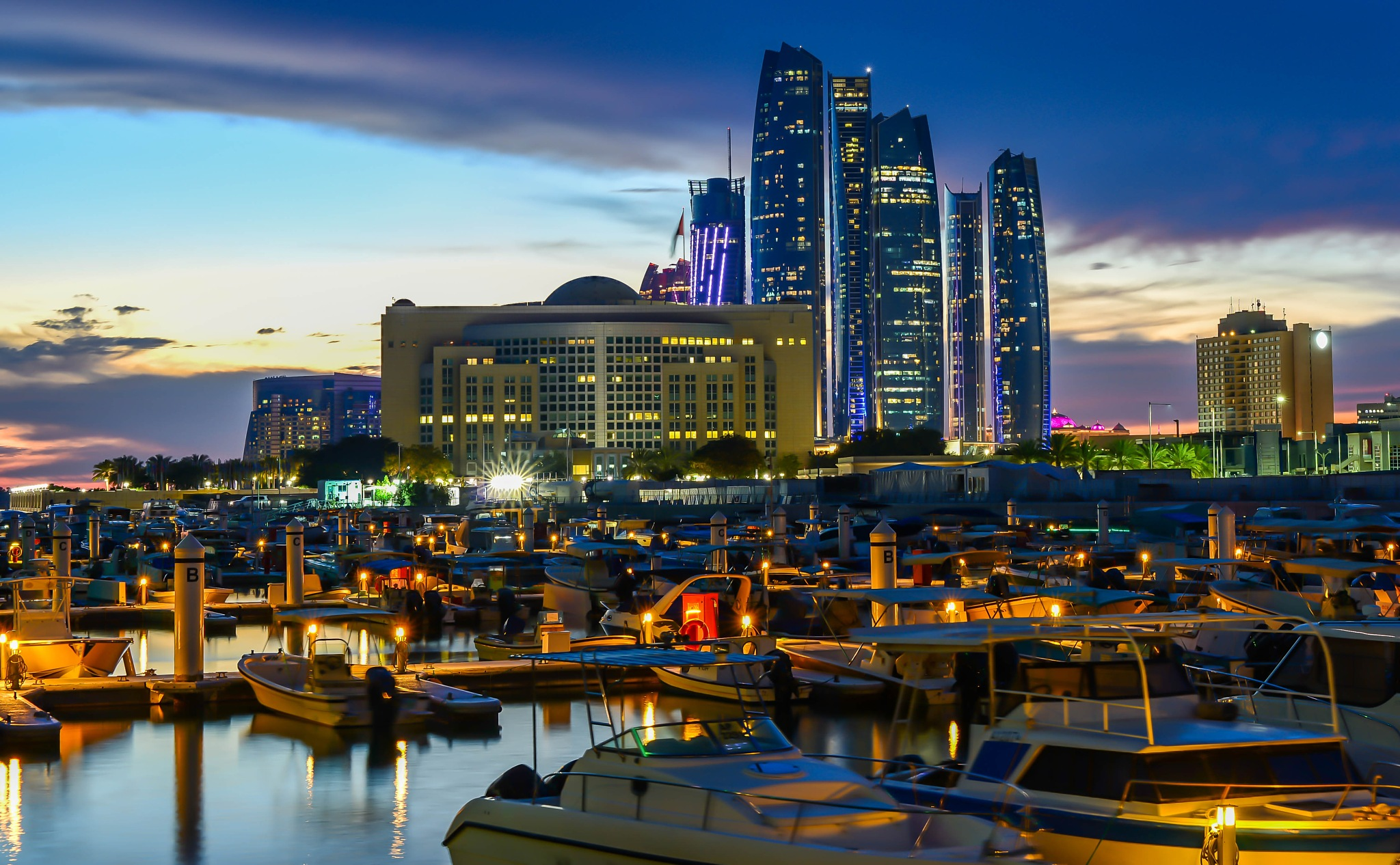 Ministry of Finance and Etihad Towers from Bateen Wharf by muhammad.nasser.963