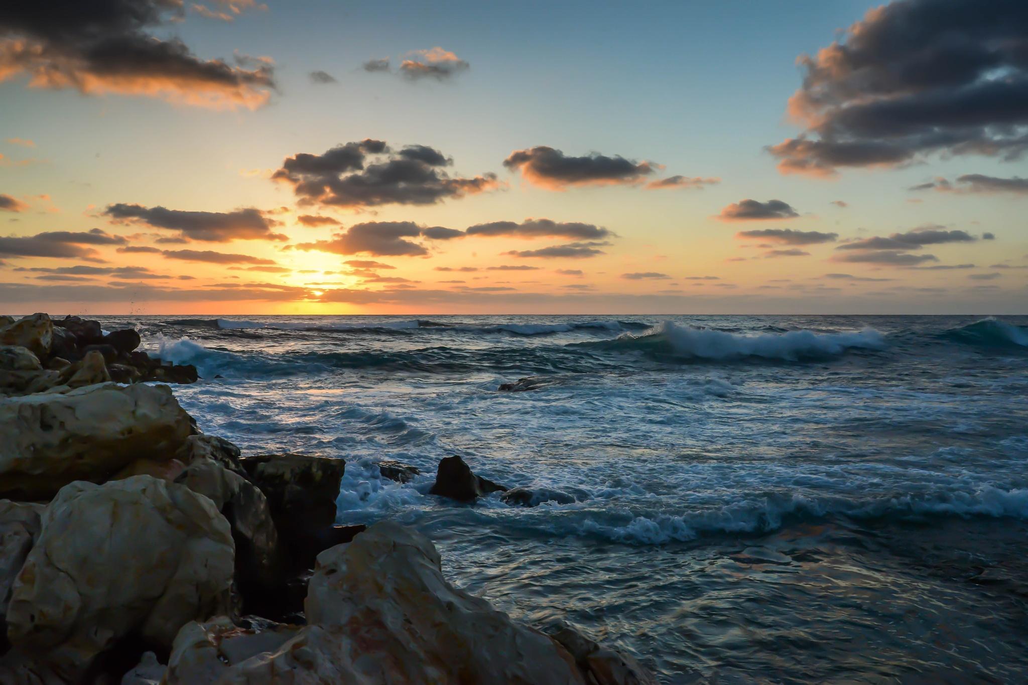 Rocks, Sea and Sunset by muhammad.nasser.963