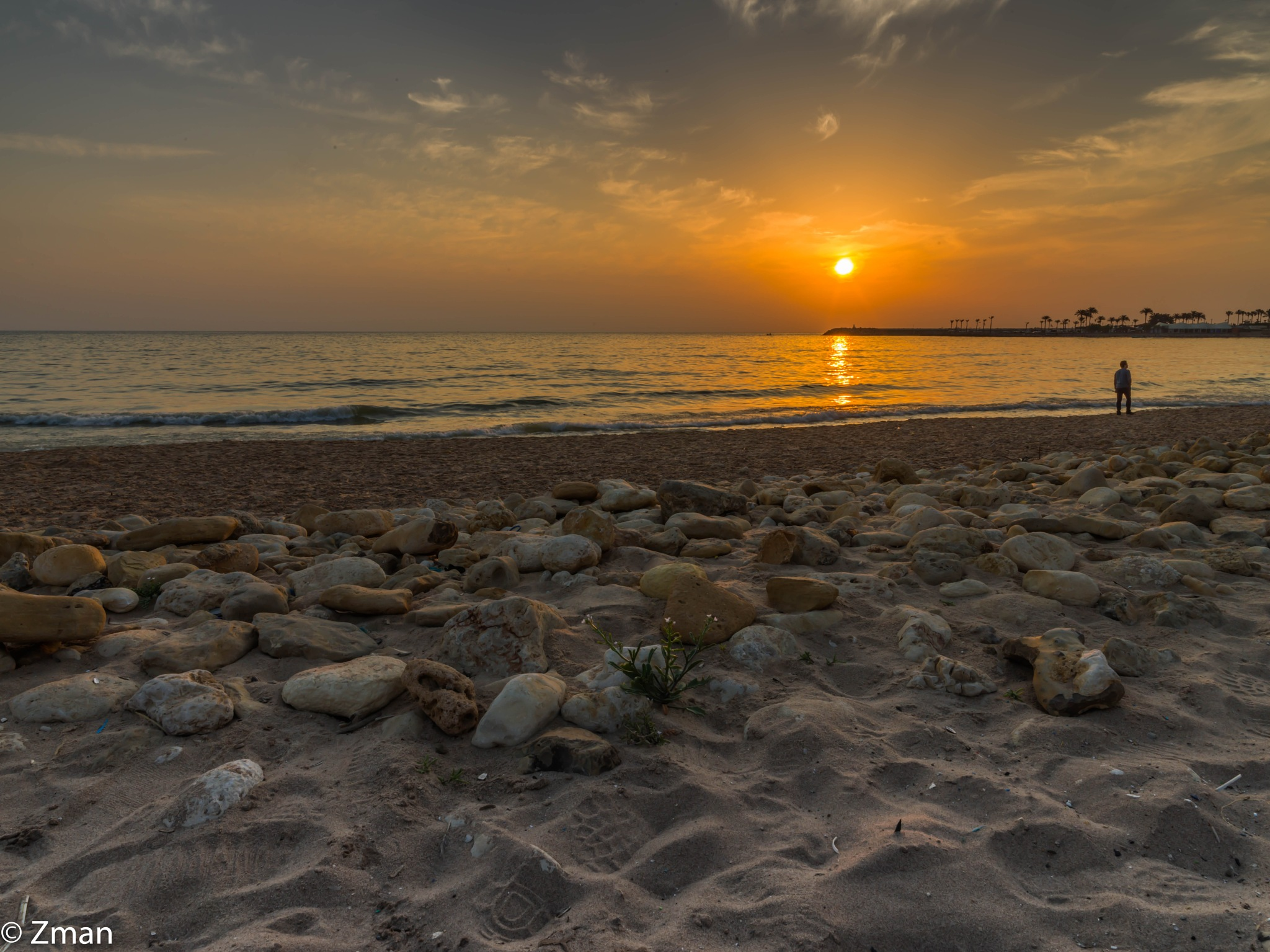 Pebbles,Sea and Sunset by muhammad.nasser.963