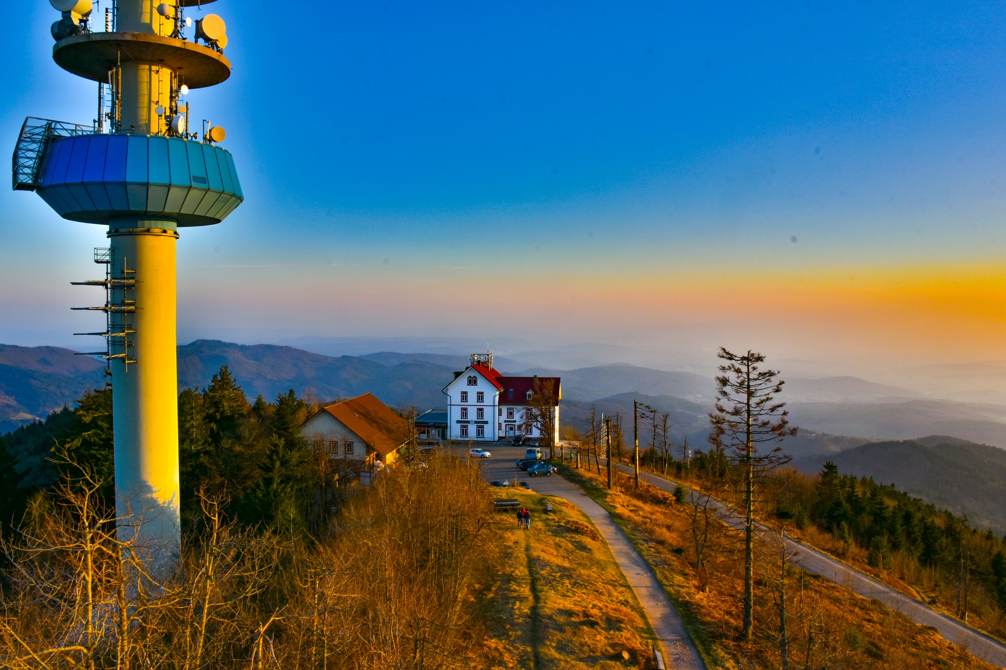 Photo in Landscape #sunlight #sunset #tower #hill #topof #mountains #fog #nebel #berge #sonnenuntergang