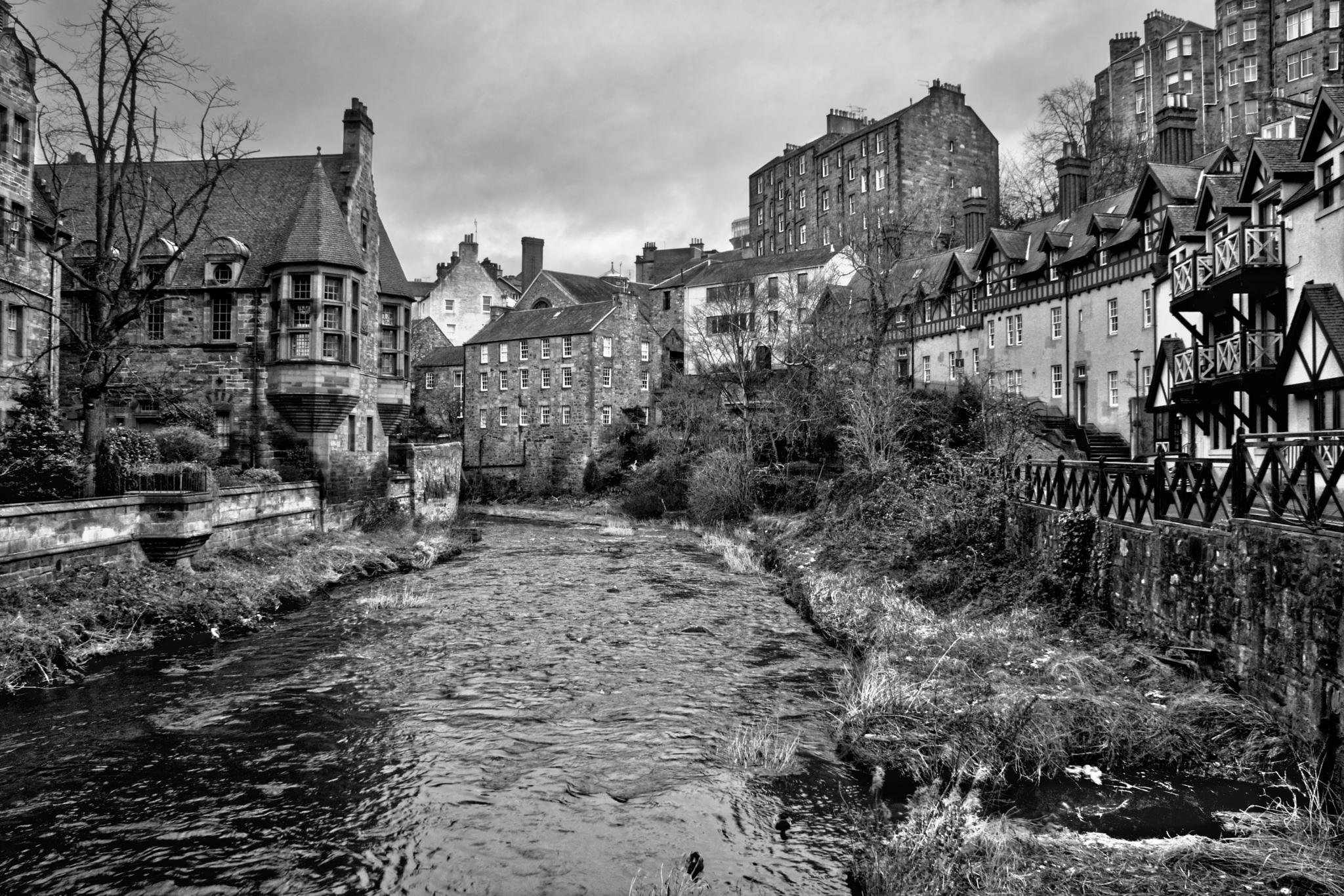Photo in Black and White #monochrome #dean village #edinburgh new town #water of leith #edinburgh #scotland