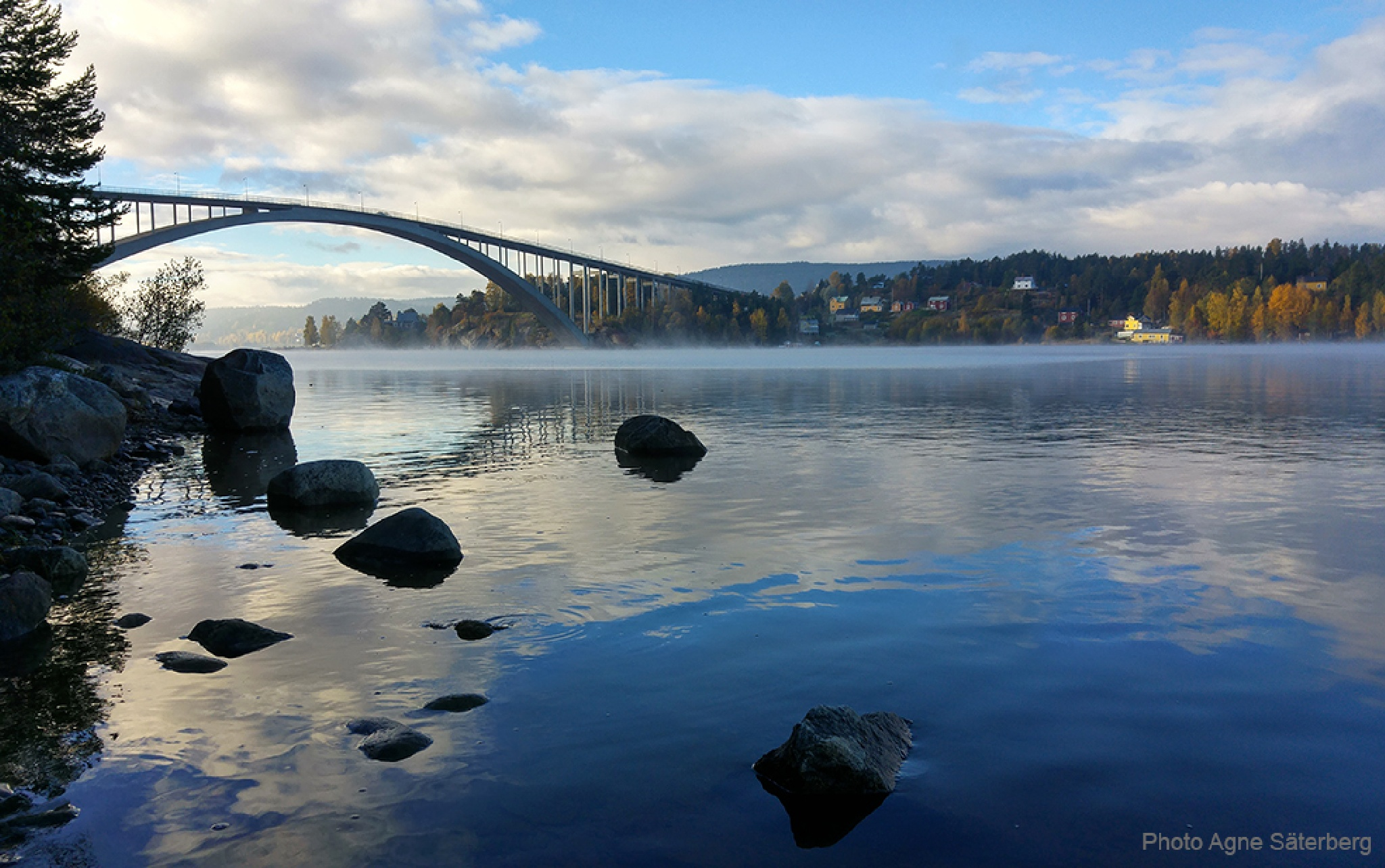 Early morning at the bridge over the River Ångermanälven by Agne Säterberg