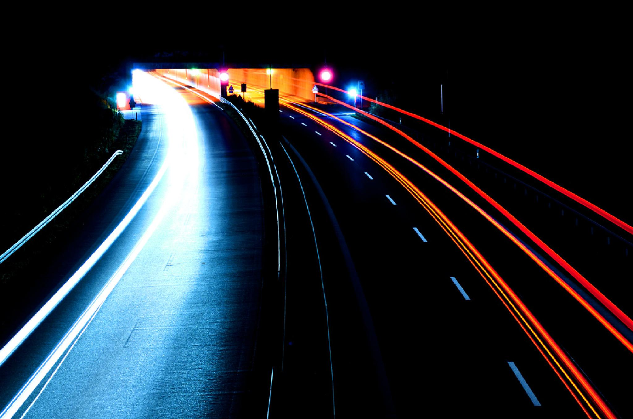 Veins of mobility: Night motorway by Oliver Brecht