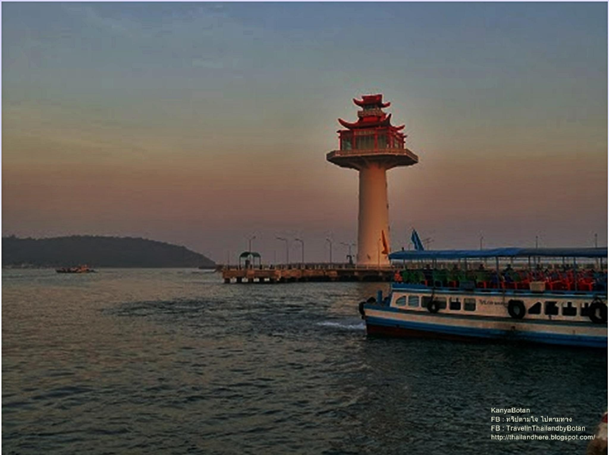 The Lighthout at Koh Sichang Island at Chonburi Thailand. by KanyaBotan