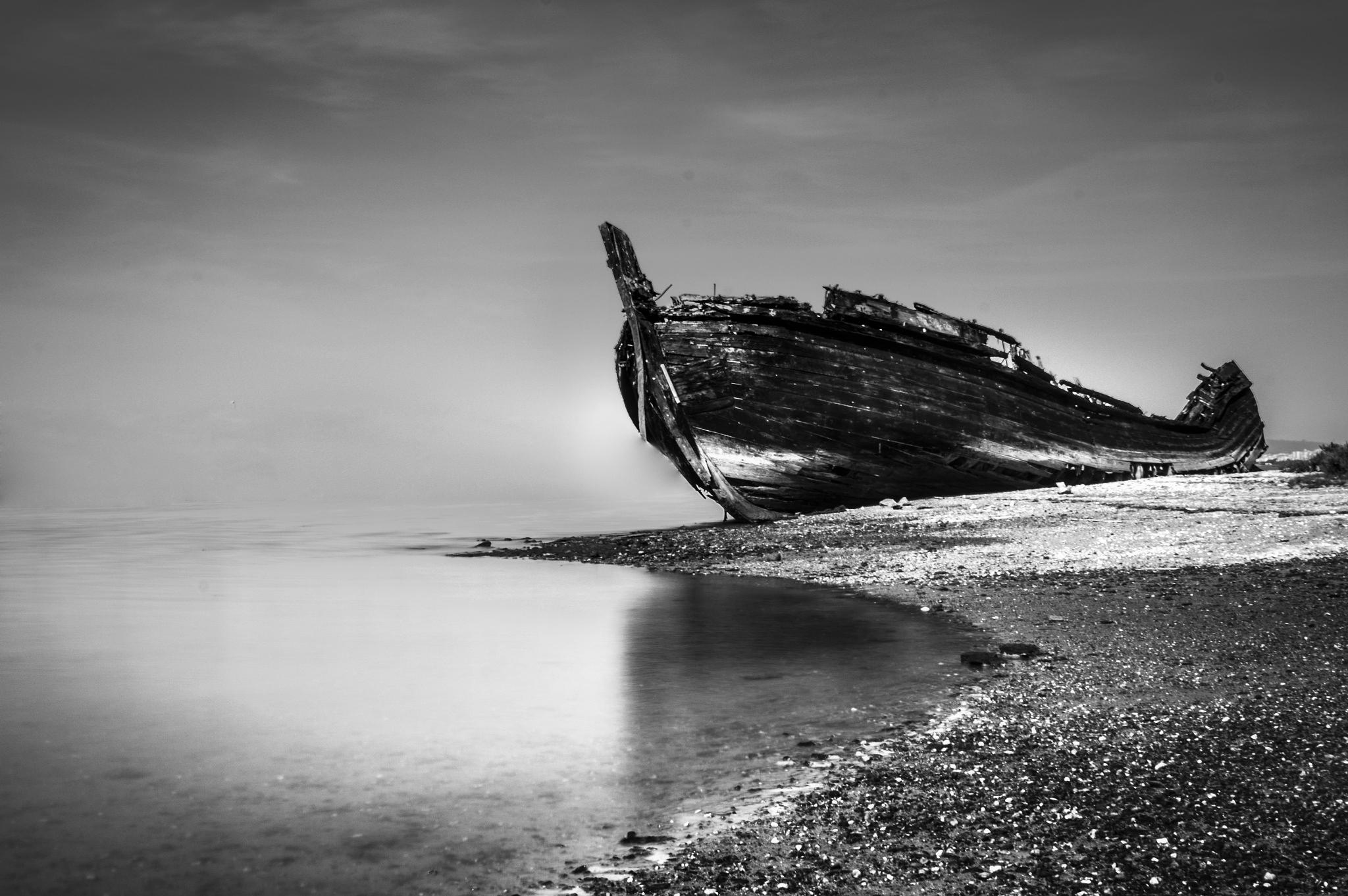 Photo in Black and White #boat #abandon #black and white #old #contrast #destroyed
