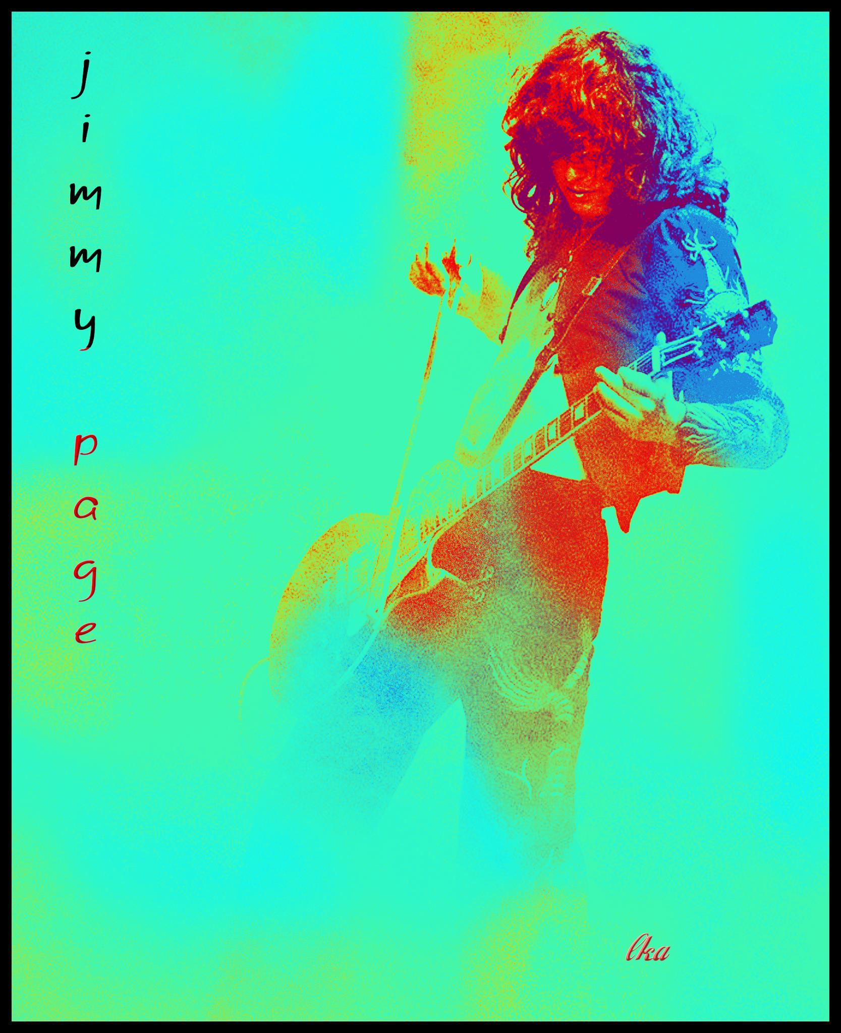 Jimmy Page in aqua by lisakay.allen
